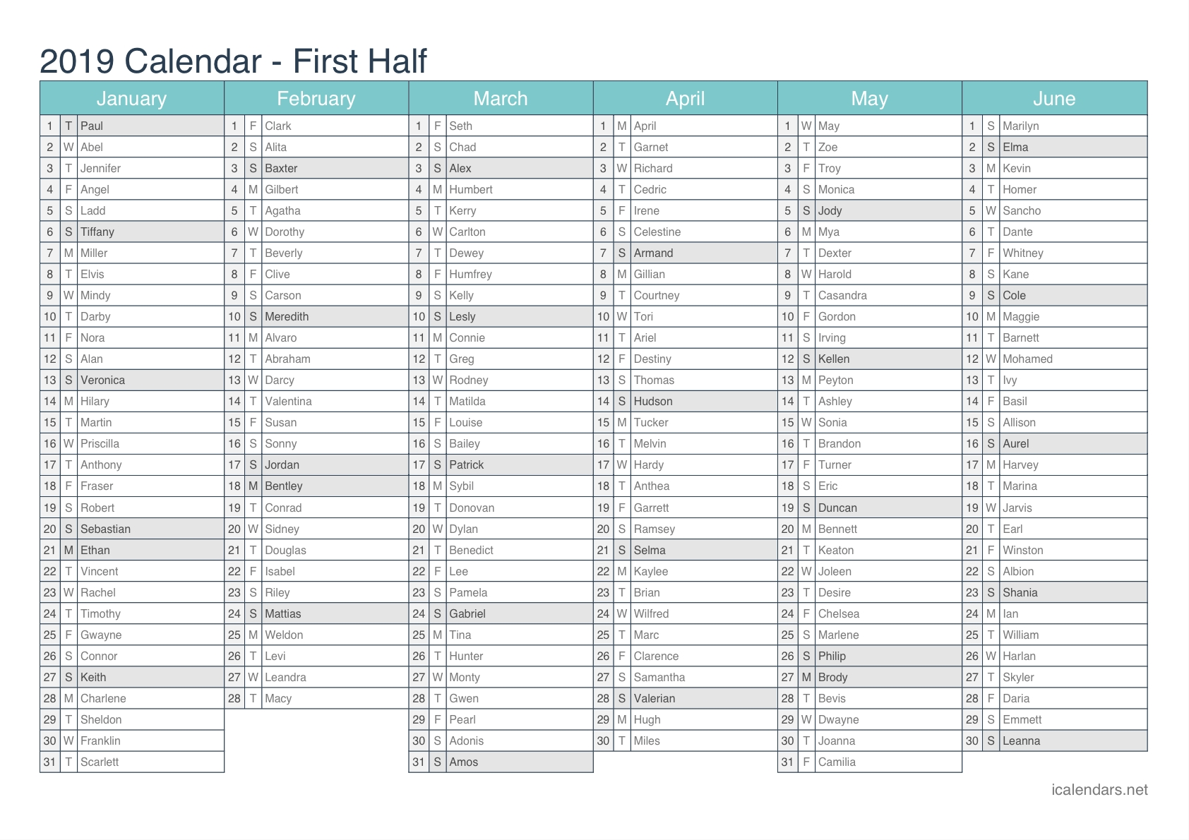 2019 Printable Calendar – Pdf Or Excel – Icalendars Calendar 2019 For Excel