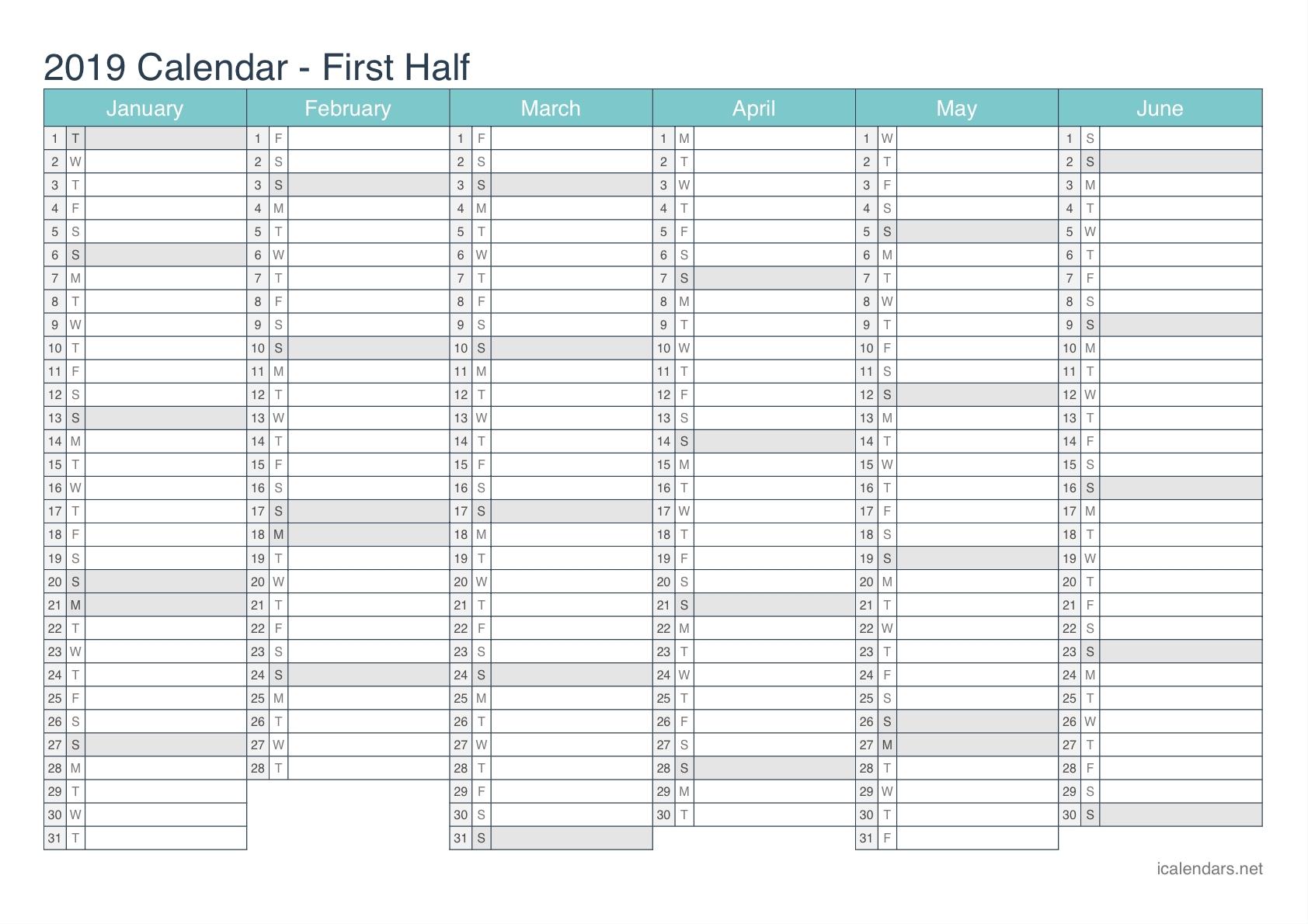 2019 Printable Calendar – Pdf Or Excel – Icalendars Calendar 2019 Half Year