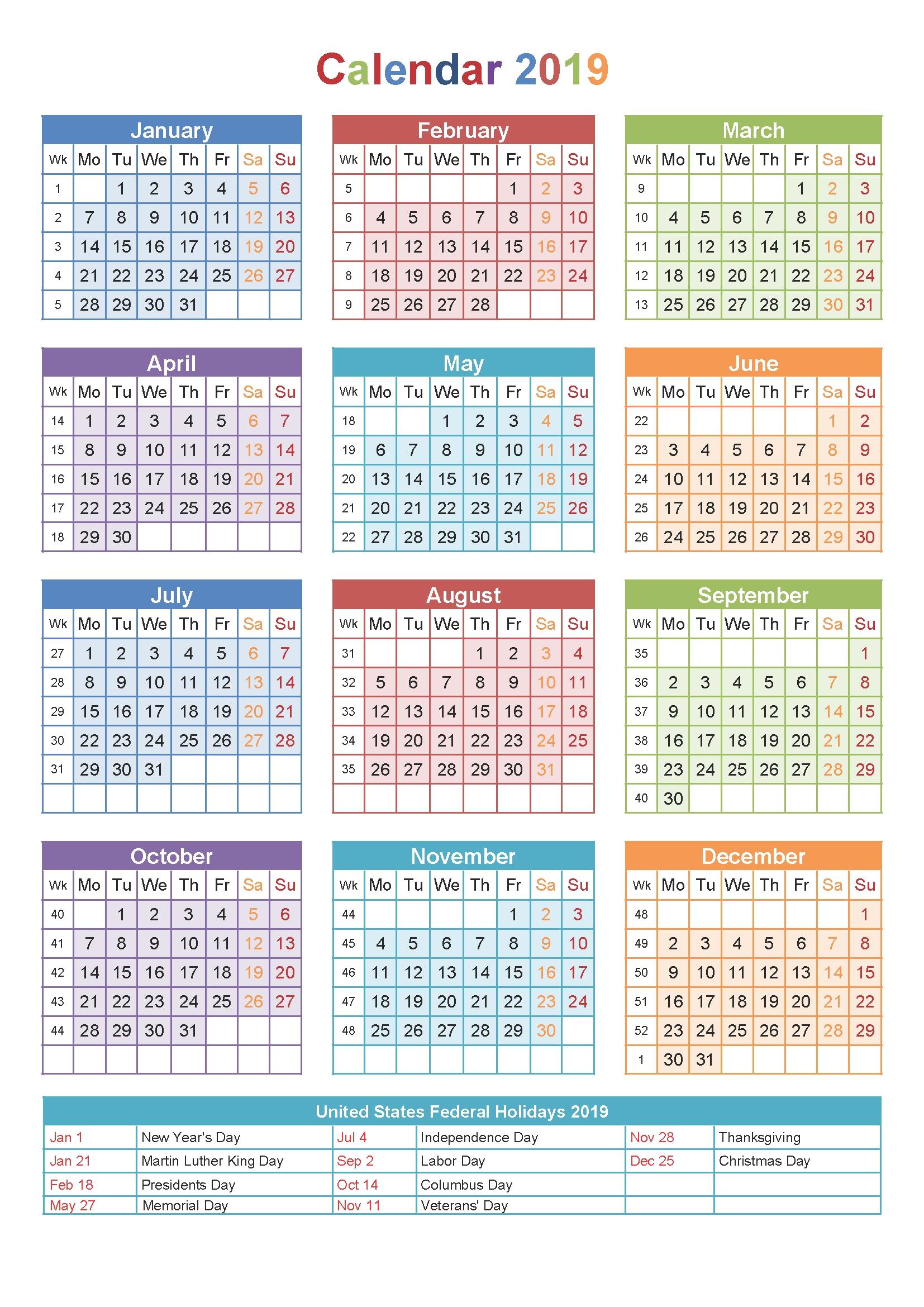 2019 Printable Calendar Templates – Blank Word Pdf – 2018 Calendar Calendar 2019 Small Printable