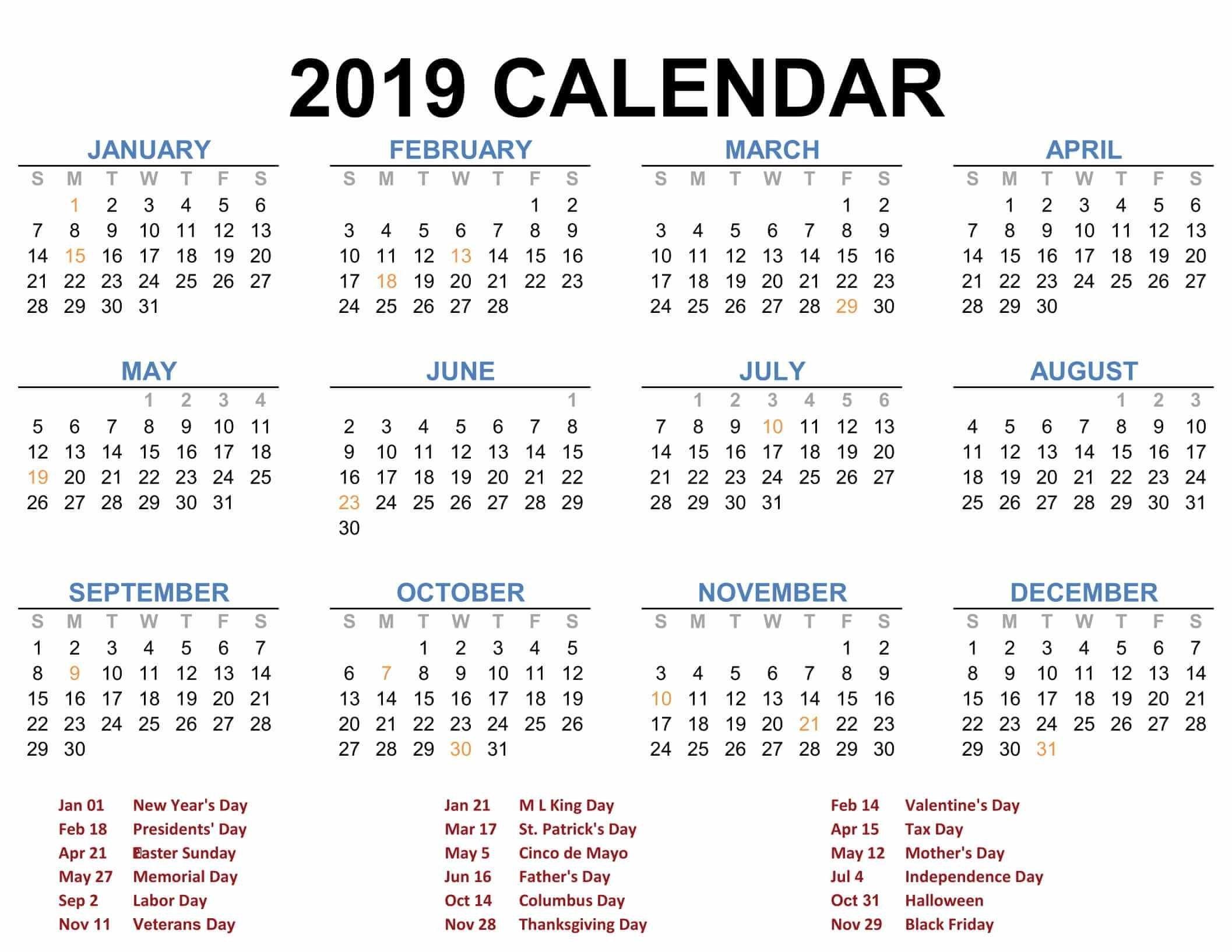 2019 Printable Calendar Templates – Pdf Excel Word – Free Printable Calendar 2019 Annual