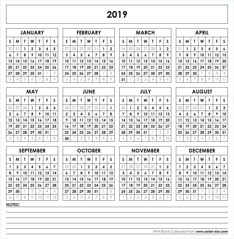 2019 Printable Calendar   Yearly Calendar   Pinterest   Calendar 1 Year Calendar 2019