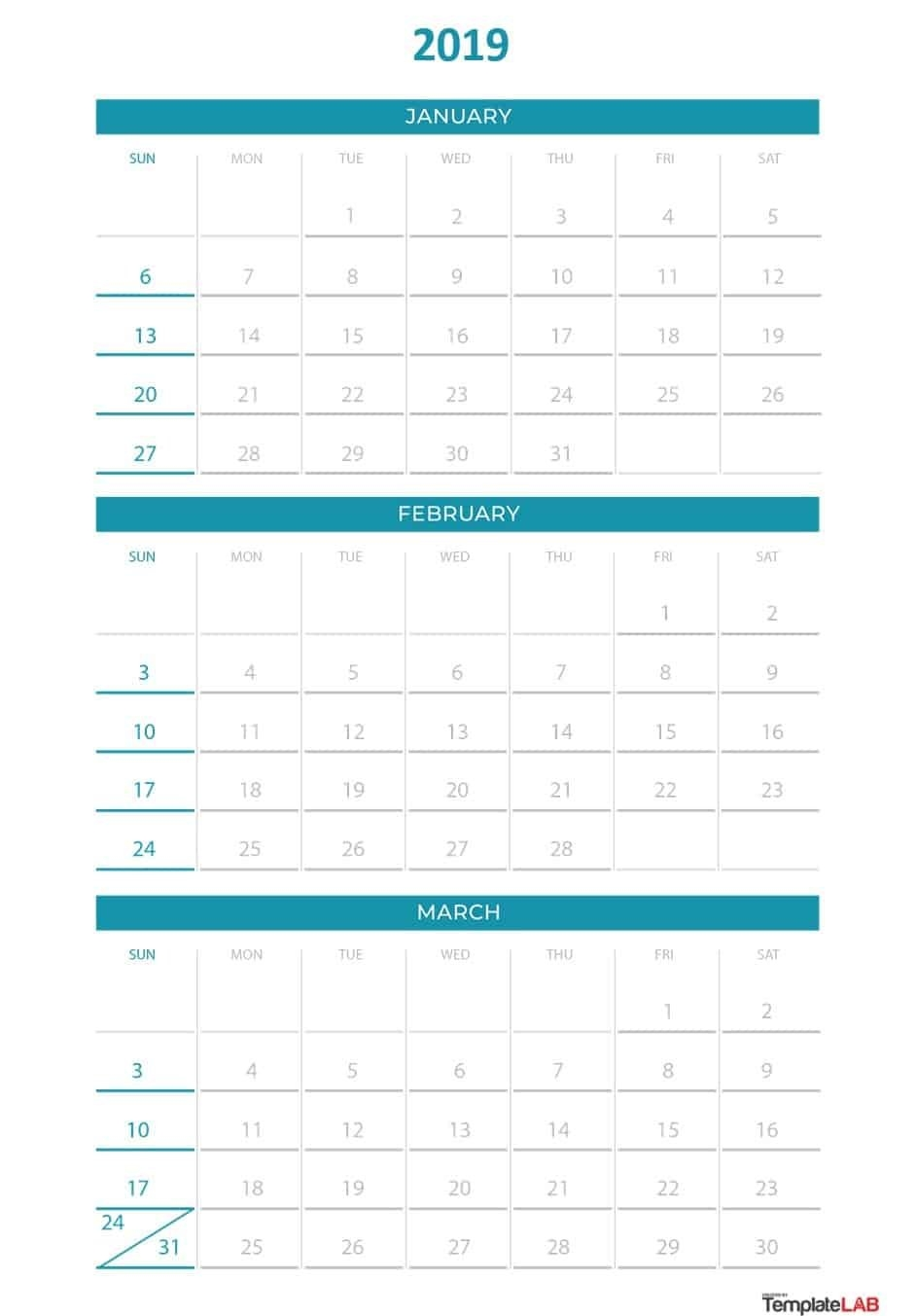 2019 Printable Calendars [Monthly, With Holidays, Yearly] – Template Lab Calendar 2019 Quarterly