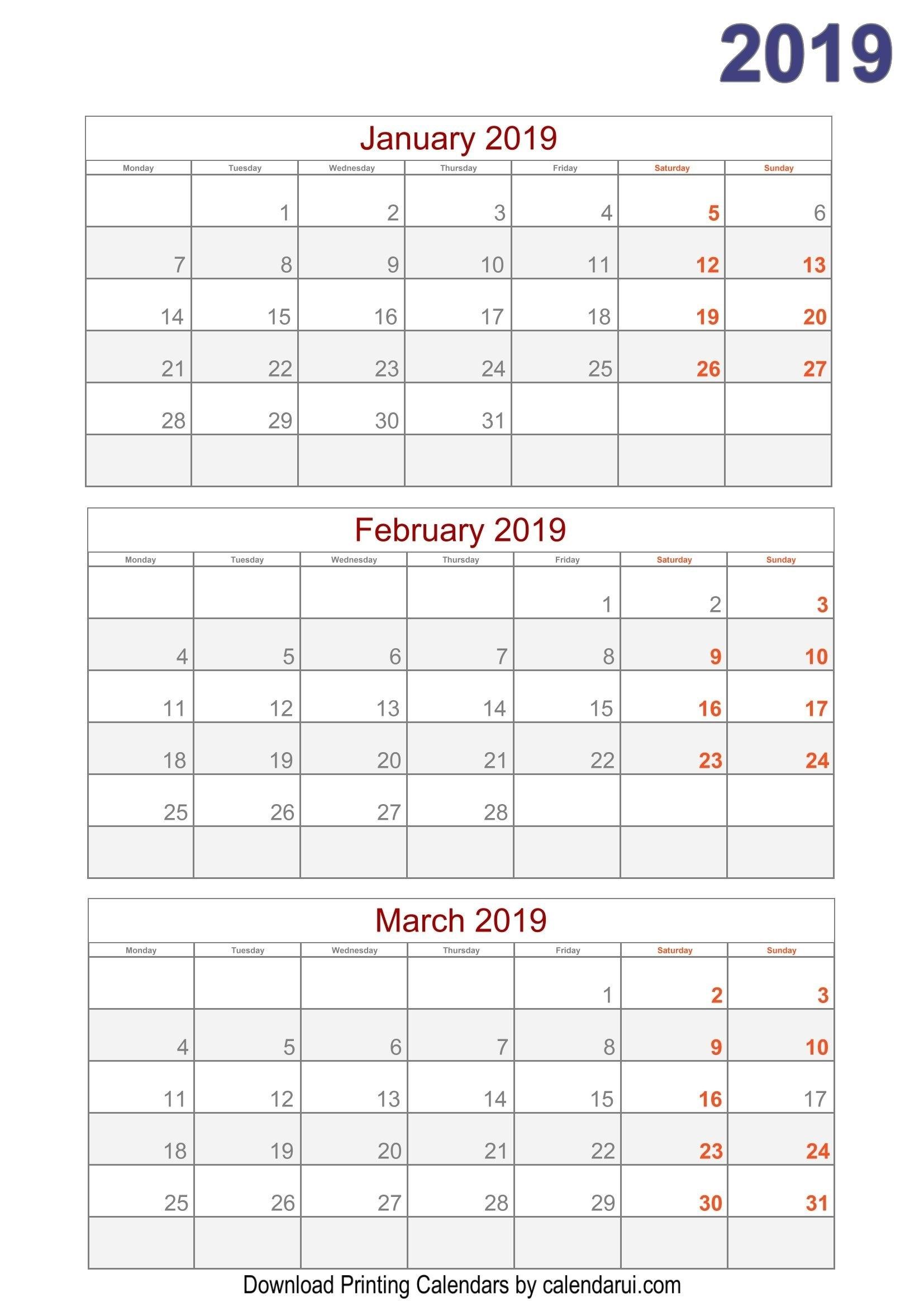 2019 Quarterly Calendar Printable For Free   2019 Calendar Calendar 2019 Quarterly