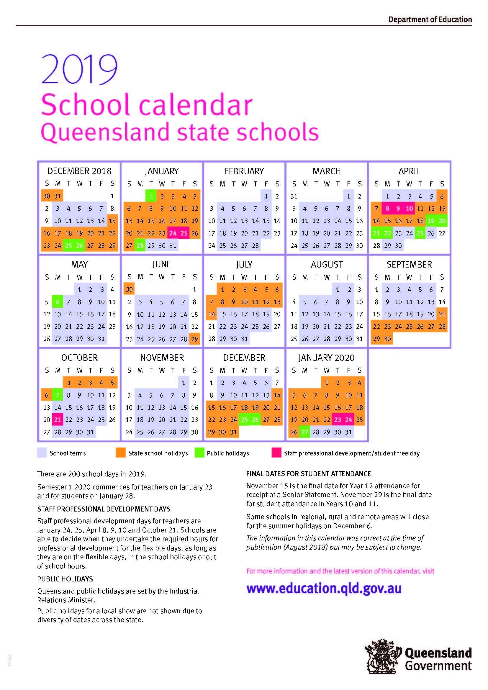 2019 Queensland State School Calendar 2019 Calendar Qld Education