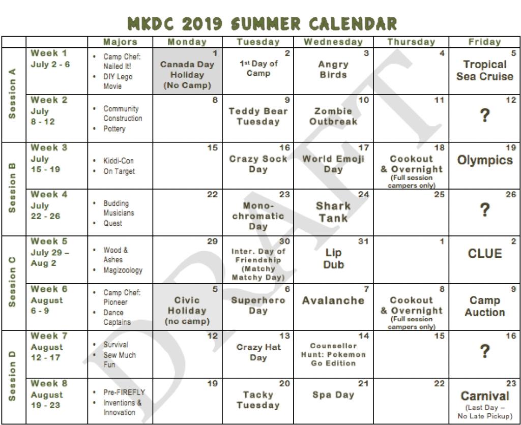 2019 Summer Calendar – Maple Key Day Camp Calendar 2019 Summer