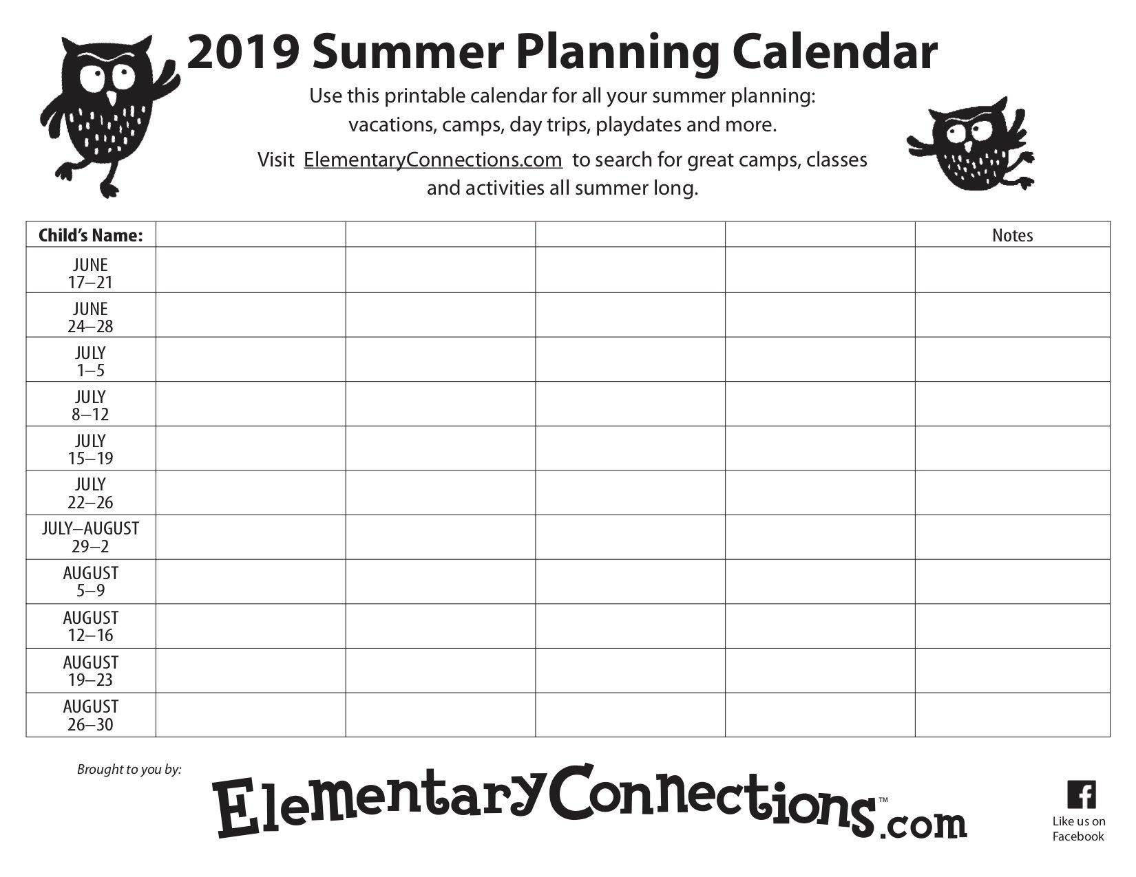 2019 Summer Planning Calendar Calendar 2019 Summer