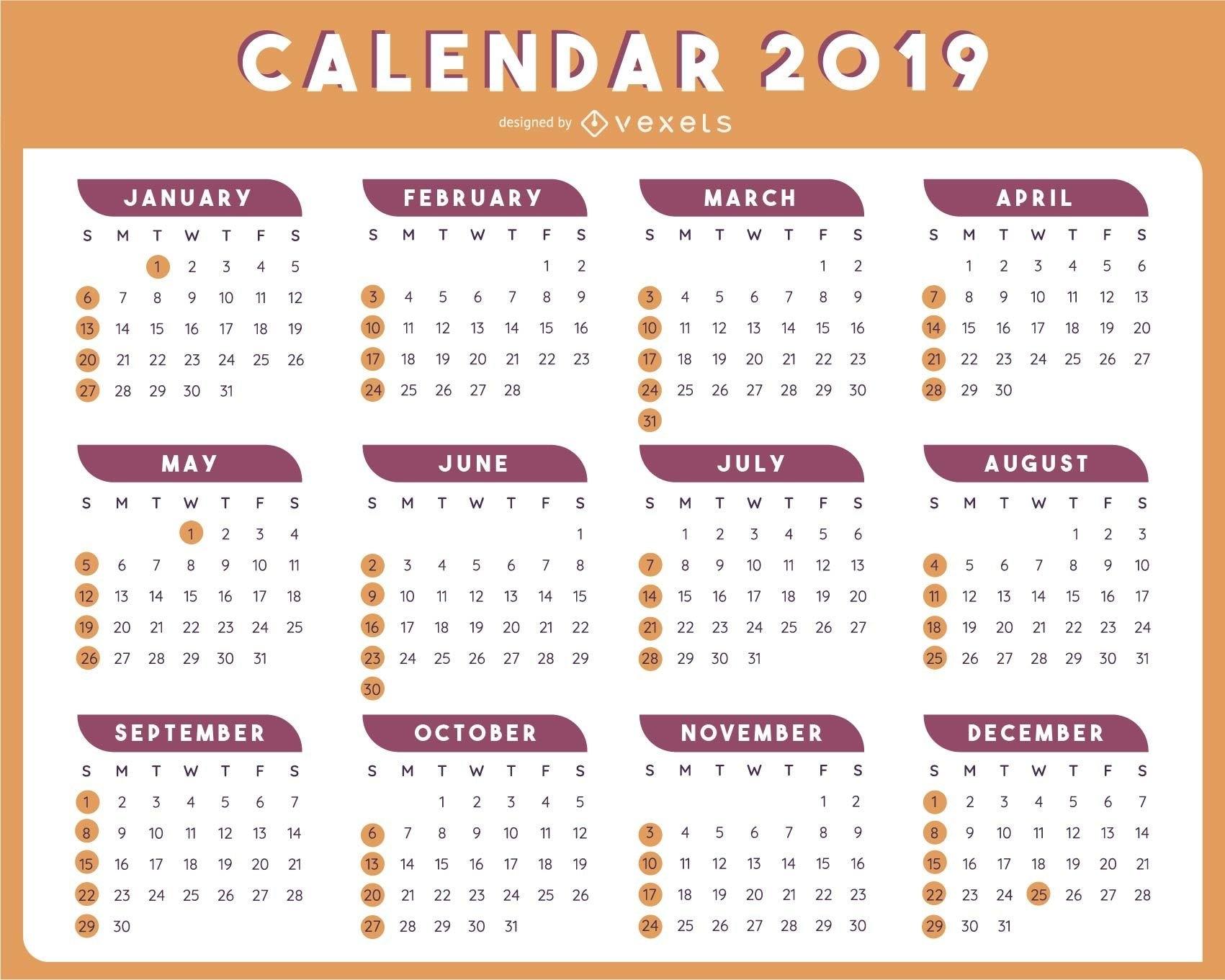 2019 Table Calendar Template Vector Design – Vector Download Calendar 2019 Vector File