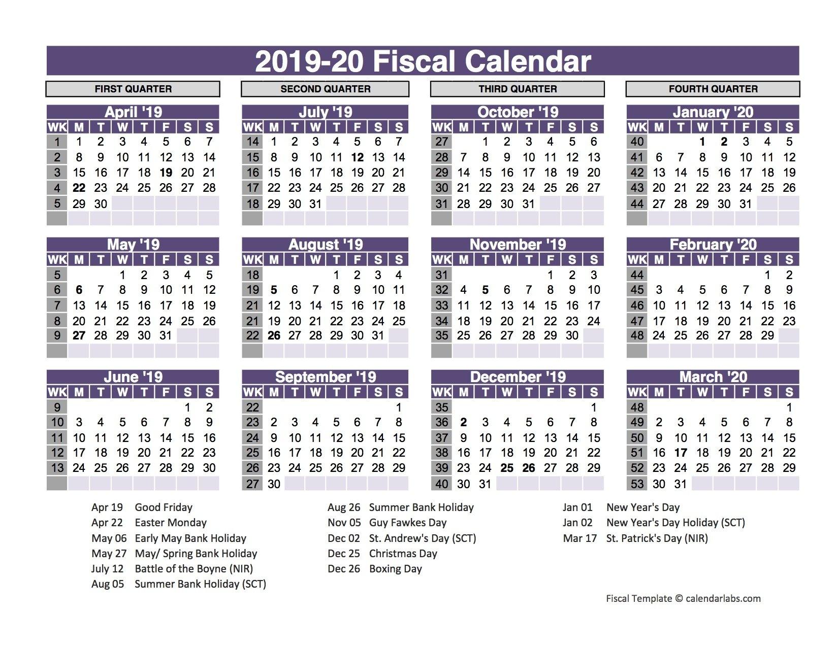 2019 Template Fiscal Year 4–4–5 Calendar | Www.picsbud 4 4 5 Calendar 2019