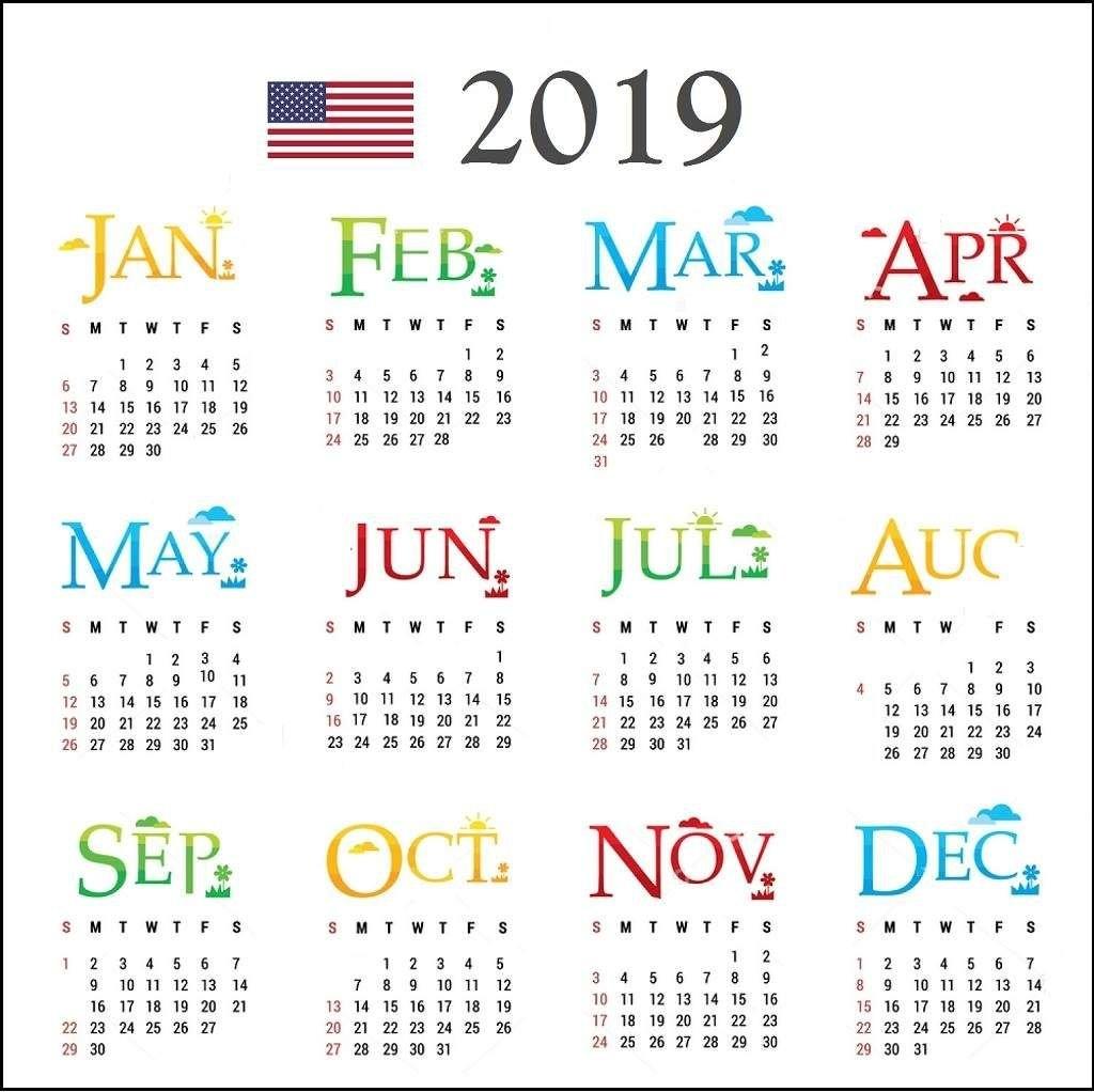 2019 Usa Calendar With Holidays.   Calendar 2019   Pinterest E One 2019 Calendar