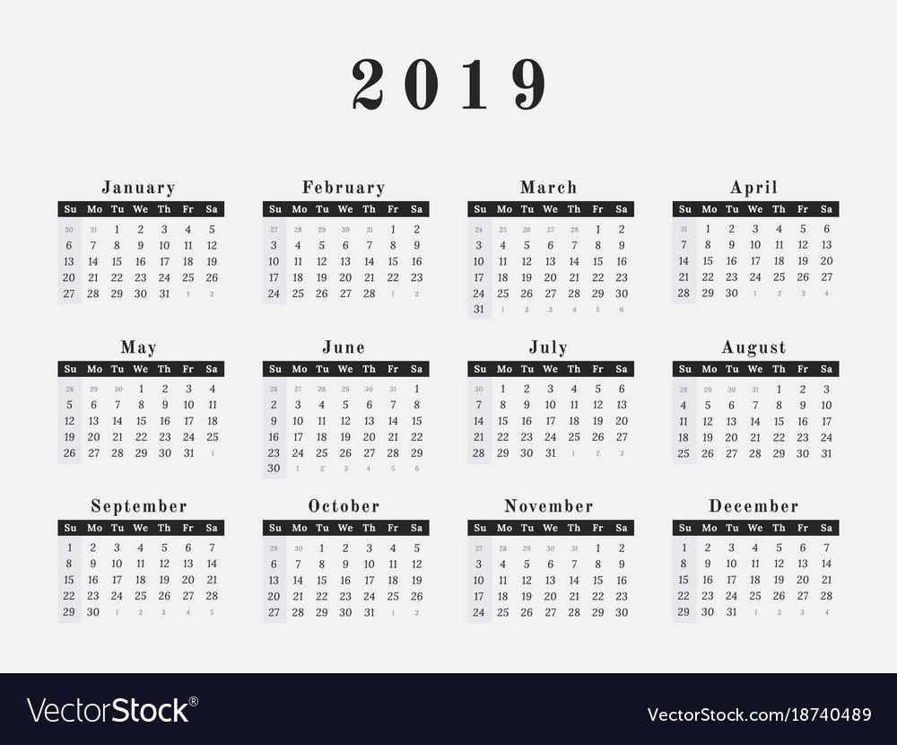 2019 Year Calendar Horizontal Design Royalty Free Vector $1 Calendar 2019