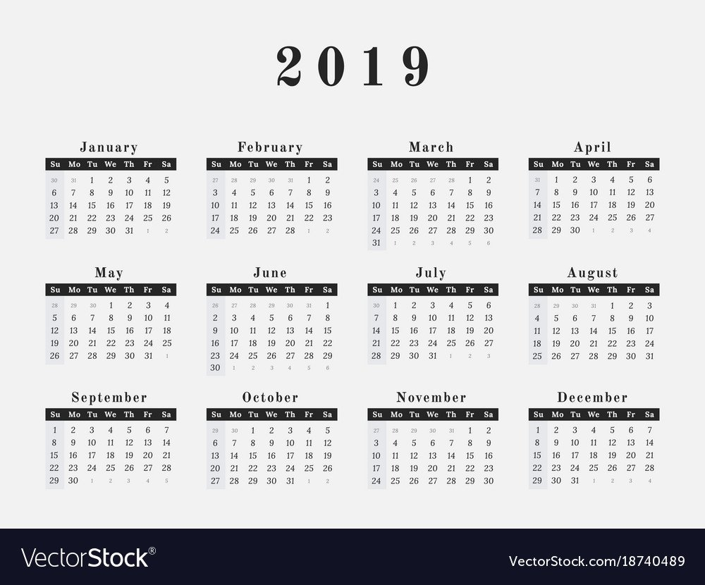 2019 Year Calendar Horizontal Design Royalty Free Vector Calendar 2019 Year