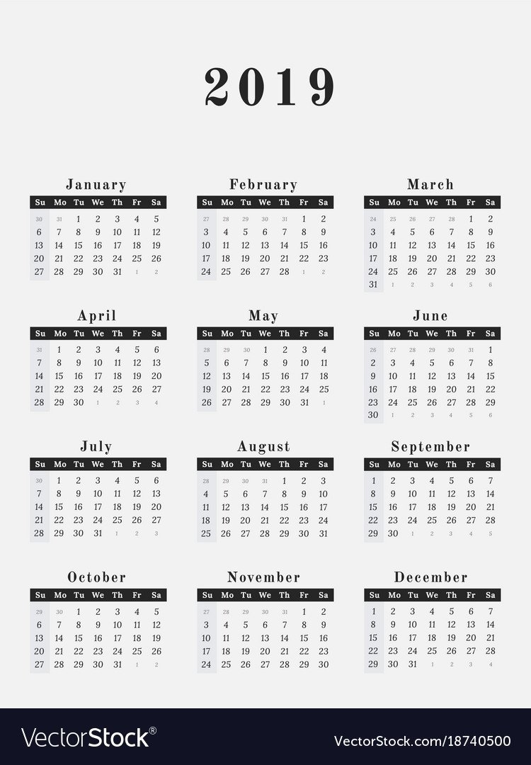 2019 Year Calendar Vertical Design Royalty Free Vector Image Calendar 2019 Vertical