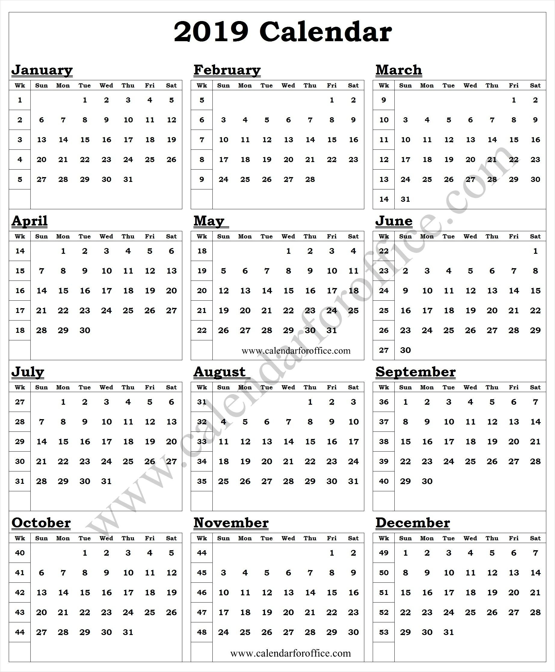 2019 Year Calendar With Week Numbers | 2019 Yearly Calendar Calendar 2019 With Week Numbers