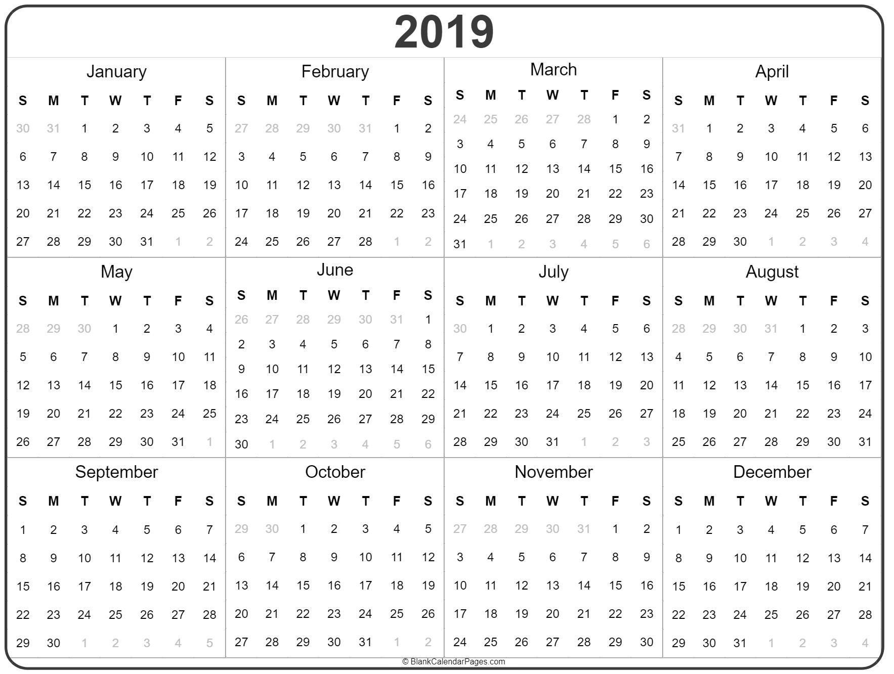 2019 Year Calendar | Yearly Printable Calendar Calendar 2019 Year