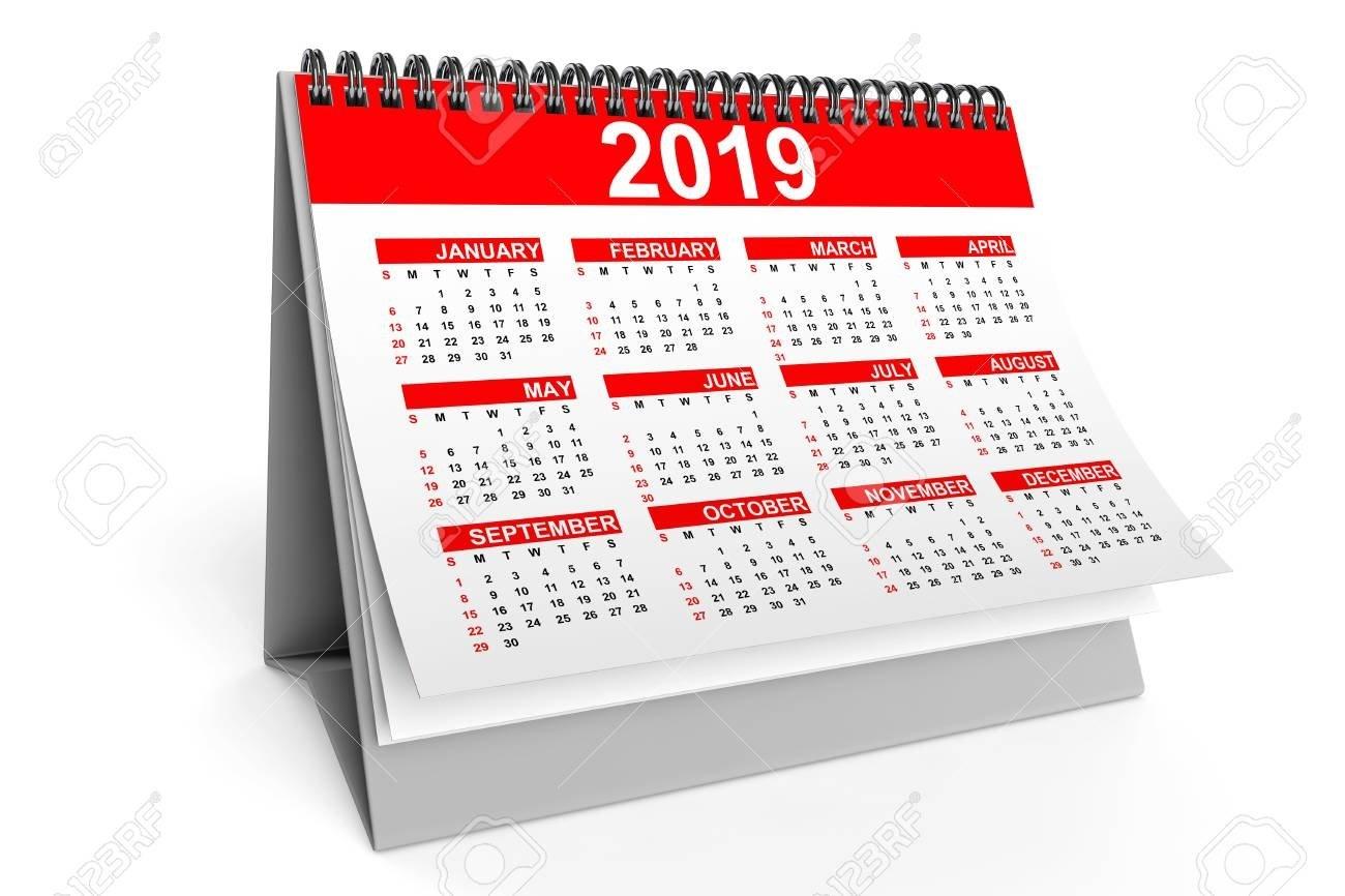 2019 Year Desktop Calendar On A White Background. 3D Rendering Stock Calendar 2019 3D