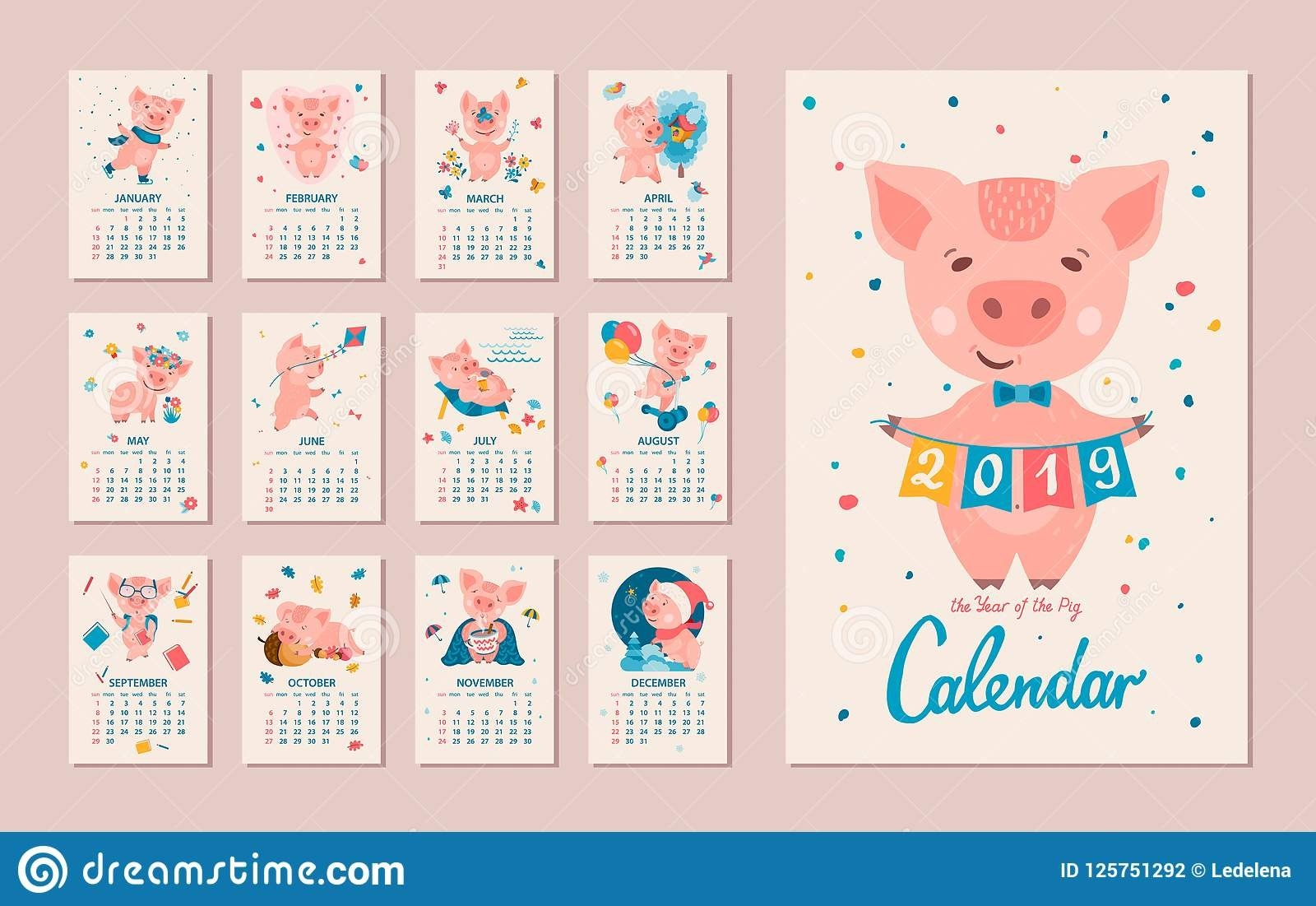 2019 Year Of The Pig Calendar Stock Vector – Illustration Of 2019 Calendar 2019 Year Of The Pig