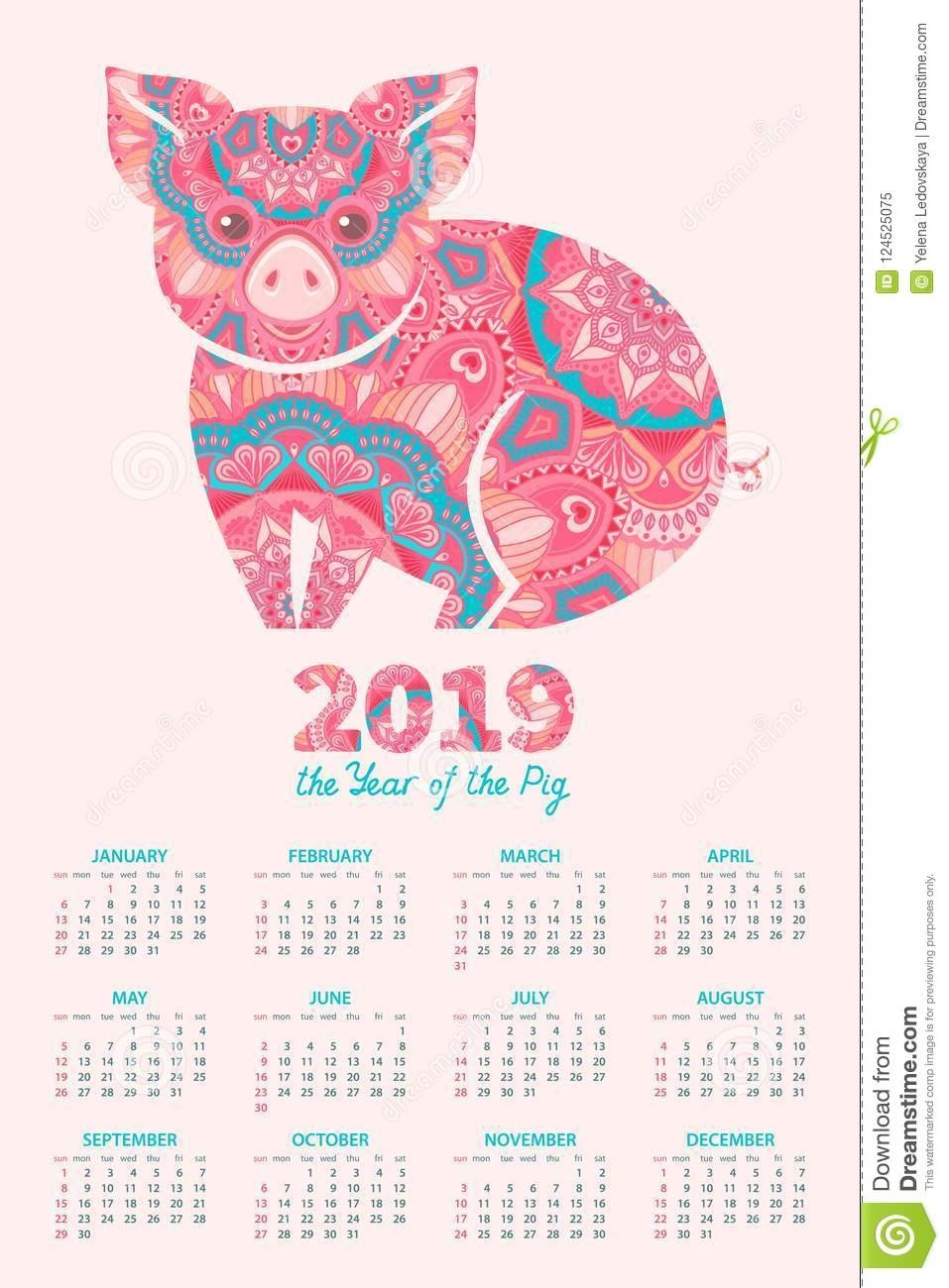 2019 Year Of The Pig Calendar Stock Vector – Illustration Of Planner Calendar 2019 Year Of The Pig