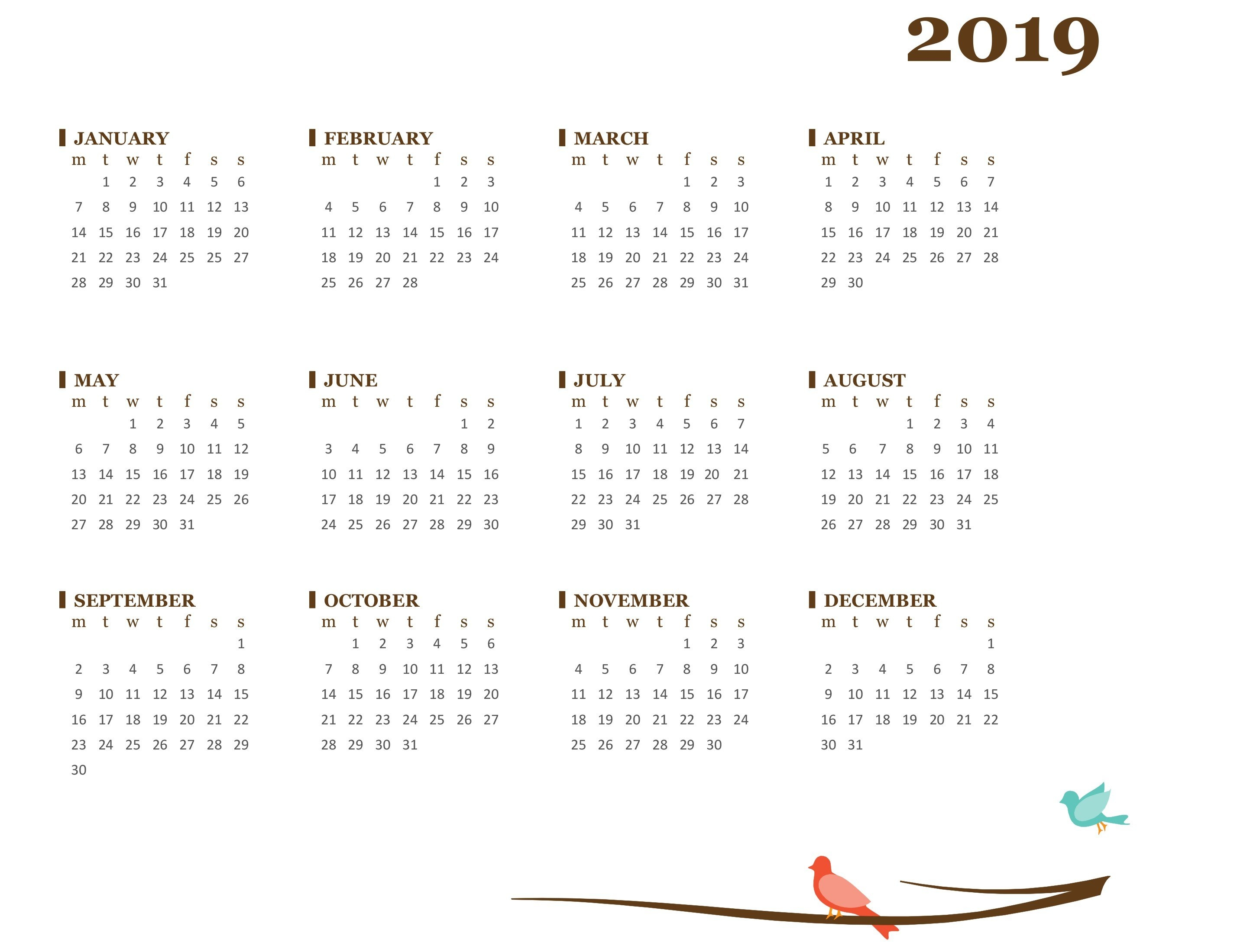 2019 Yearly Calendar (Mon Sun) Calendar 2019 With Pictures