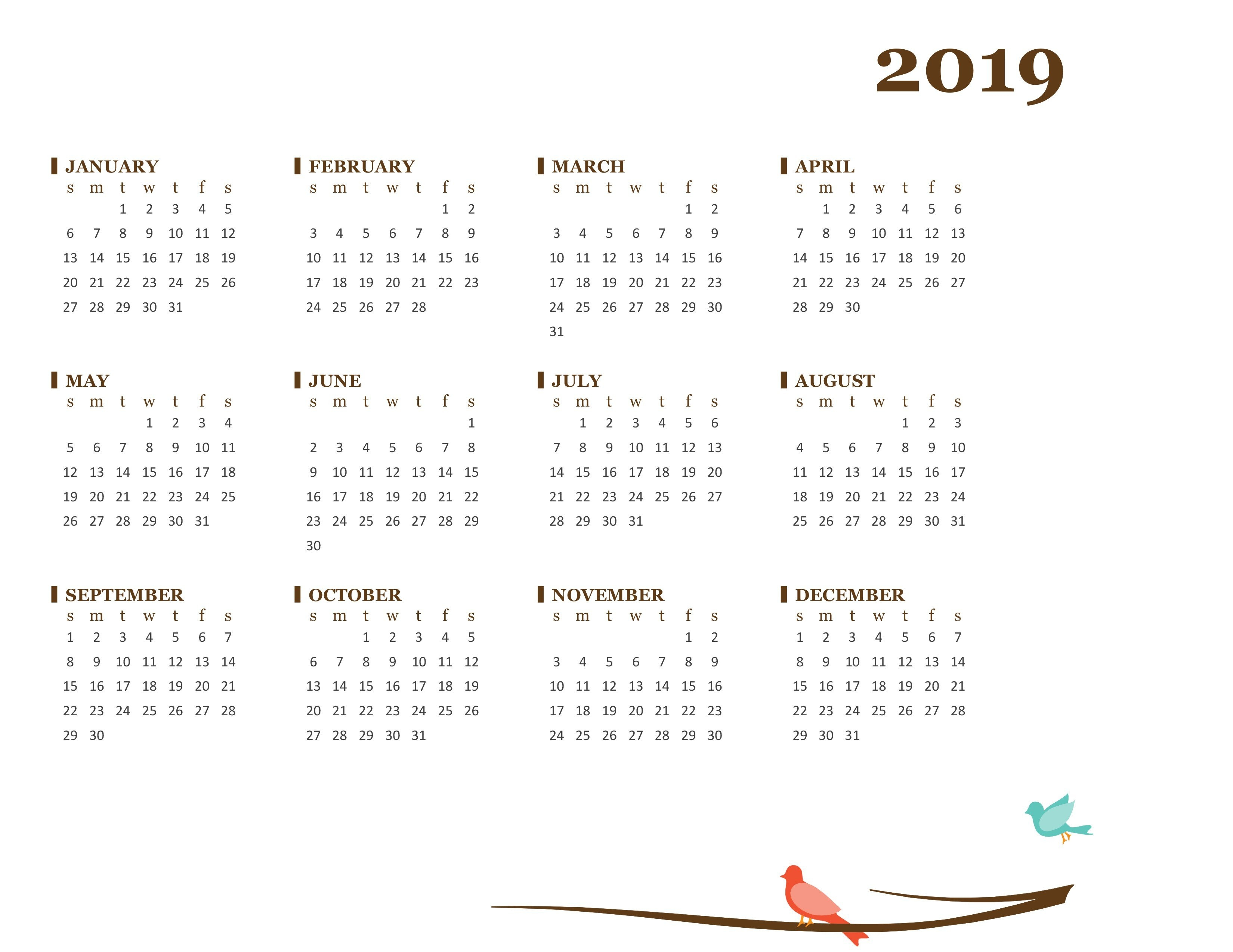 2019 Yearly Calendar (Sun Sat) Calendar 2019 Year At A Glance