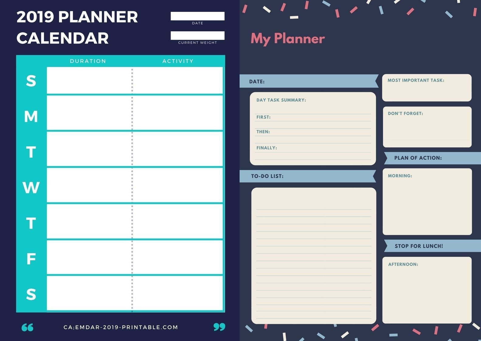 2019 Yearly Planner Calendar | Monthly Planners | Pinterest Calendar 2019 Year Planner Printable