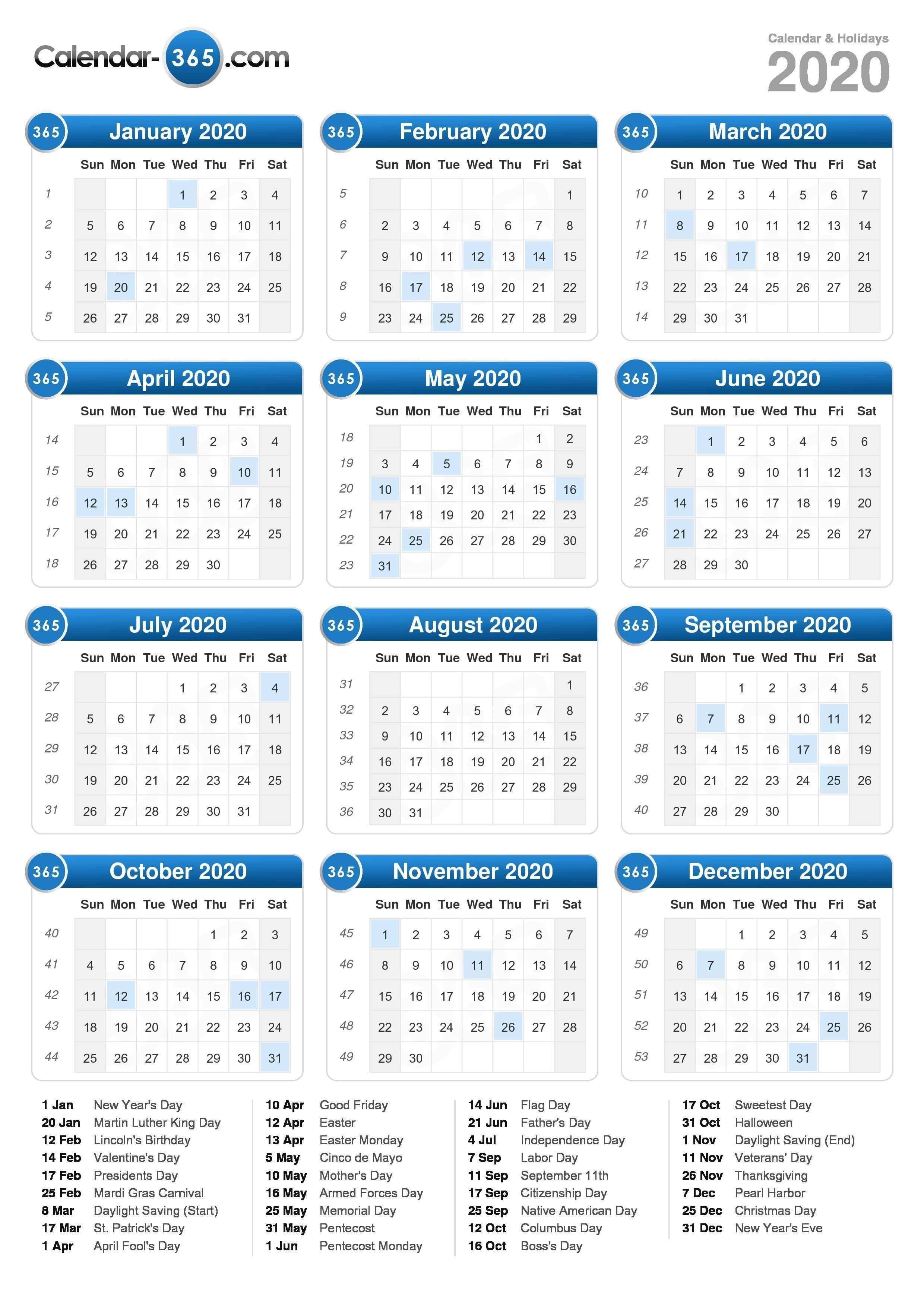 2020 Calendar 4 5 4 Calendar 2019