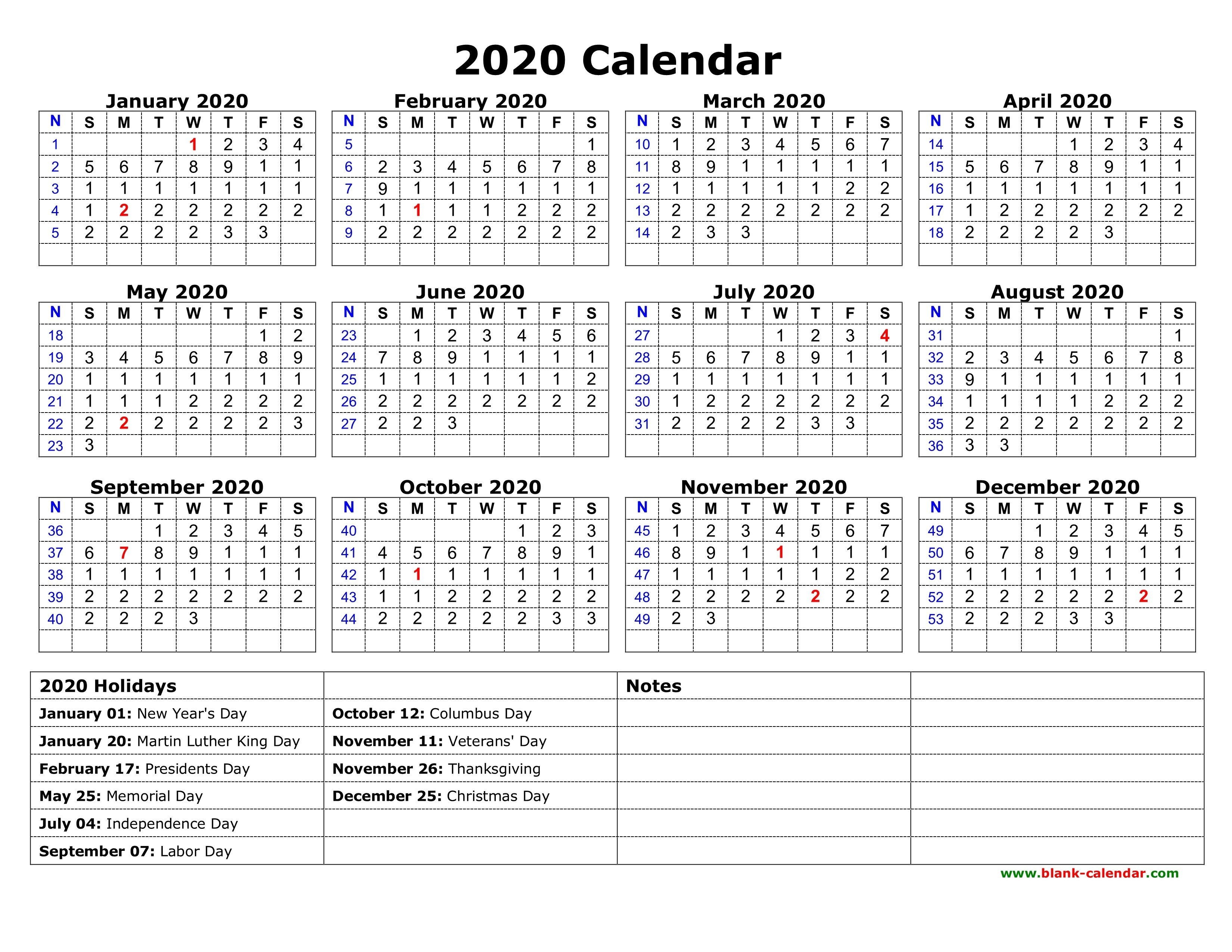 2020 Calendar Template With Holidays Printable Free Download Fcps Calendar 2019 20