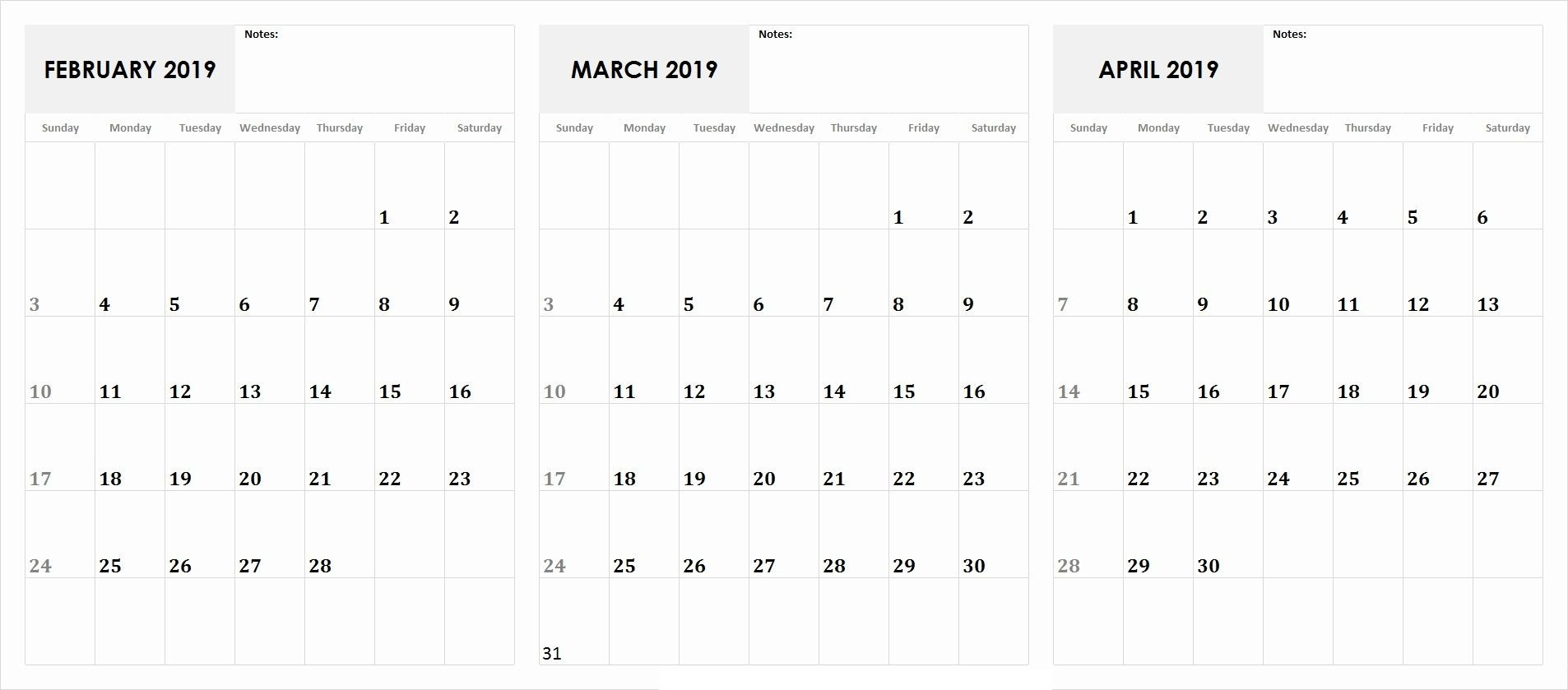 3 Month Calendar February, March, April 2019 Calendar | 555+ April 3 2019 Calendar