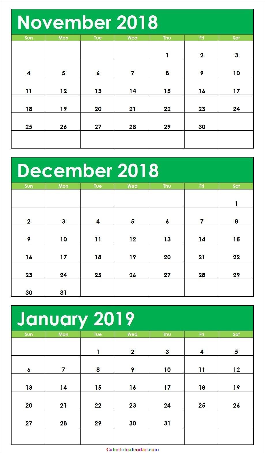 3 Month November December 2018 January 2019 Calendar Green 3 Month Calendar 2019 Printable