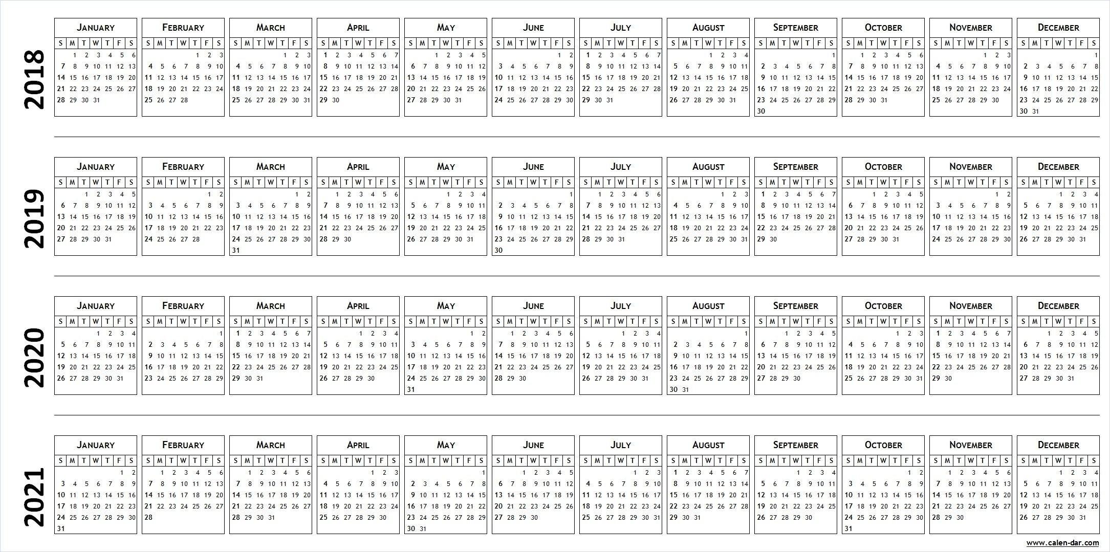 4 Four Year Blank Calendar 2018 2019 2020 2021 | Calendar 4 Year Calendar 2019 To 2022 Printable