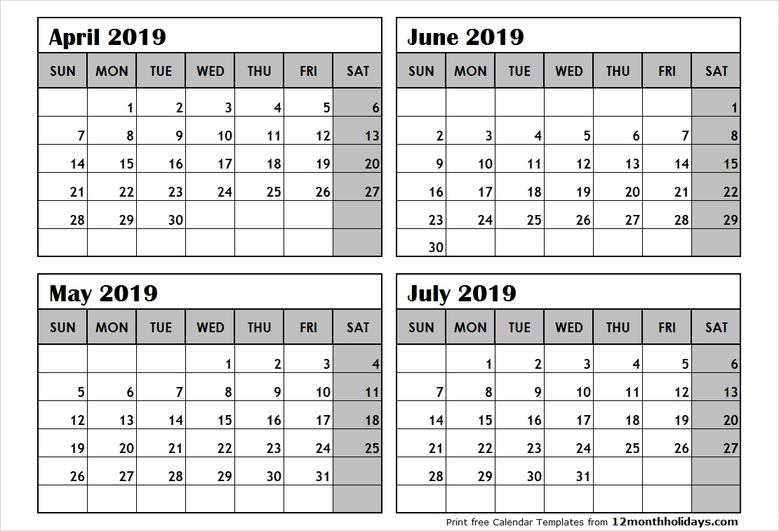 4 Month Calendar April To July 2019 – All 12 Month Calendar Printable 4 Month Calendar 2019