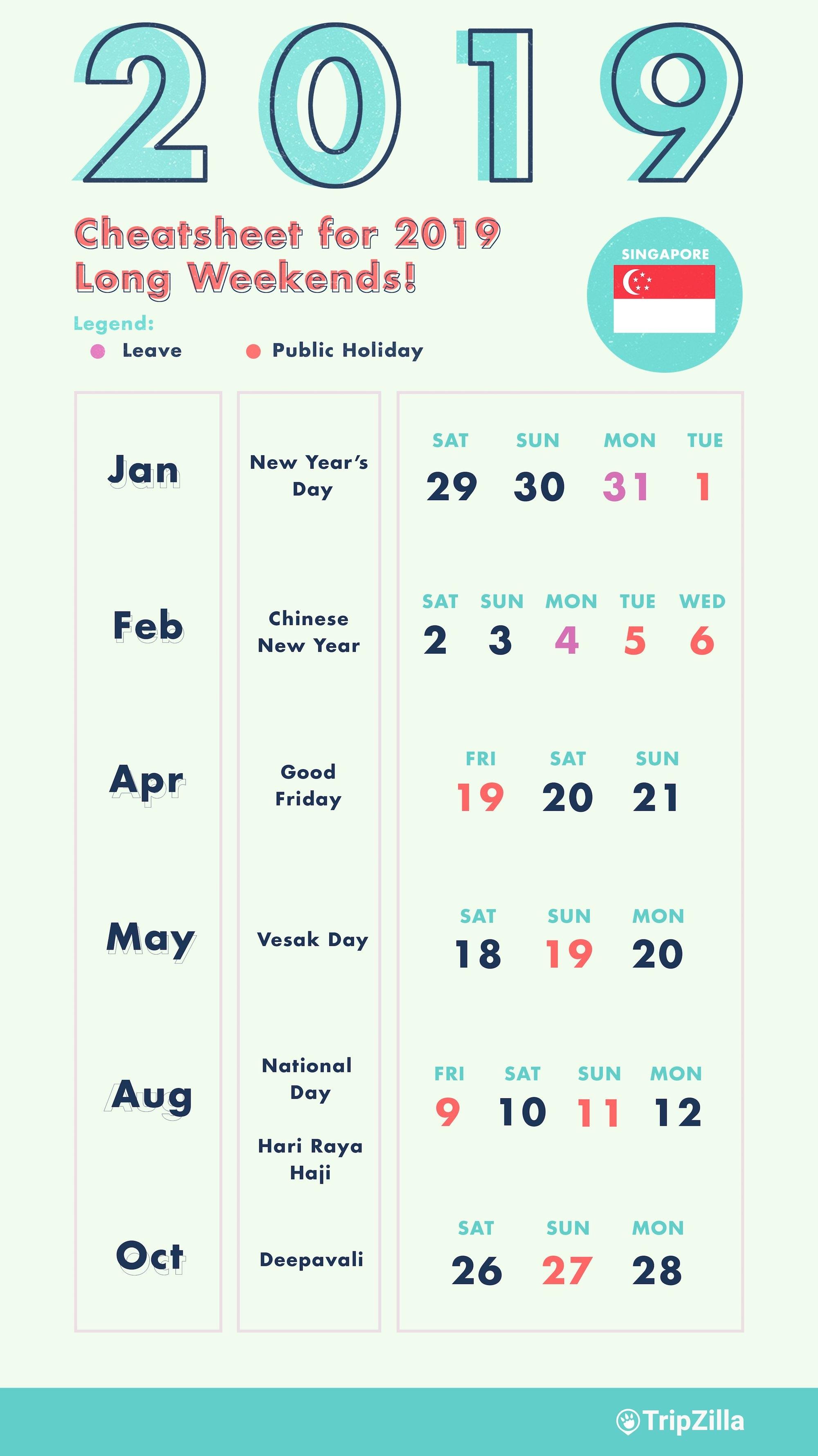 6 Long Weekends In Singapore In 2019 (Bonus Calendar & Cheatsheet) Calendar 2019 Bank Holidays