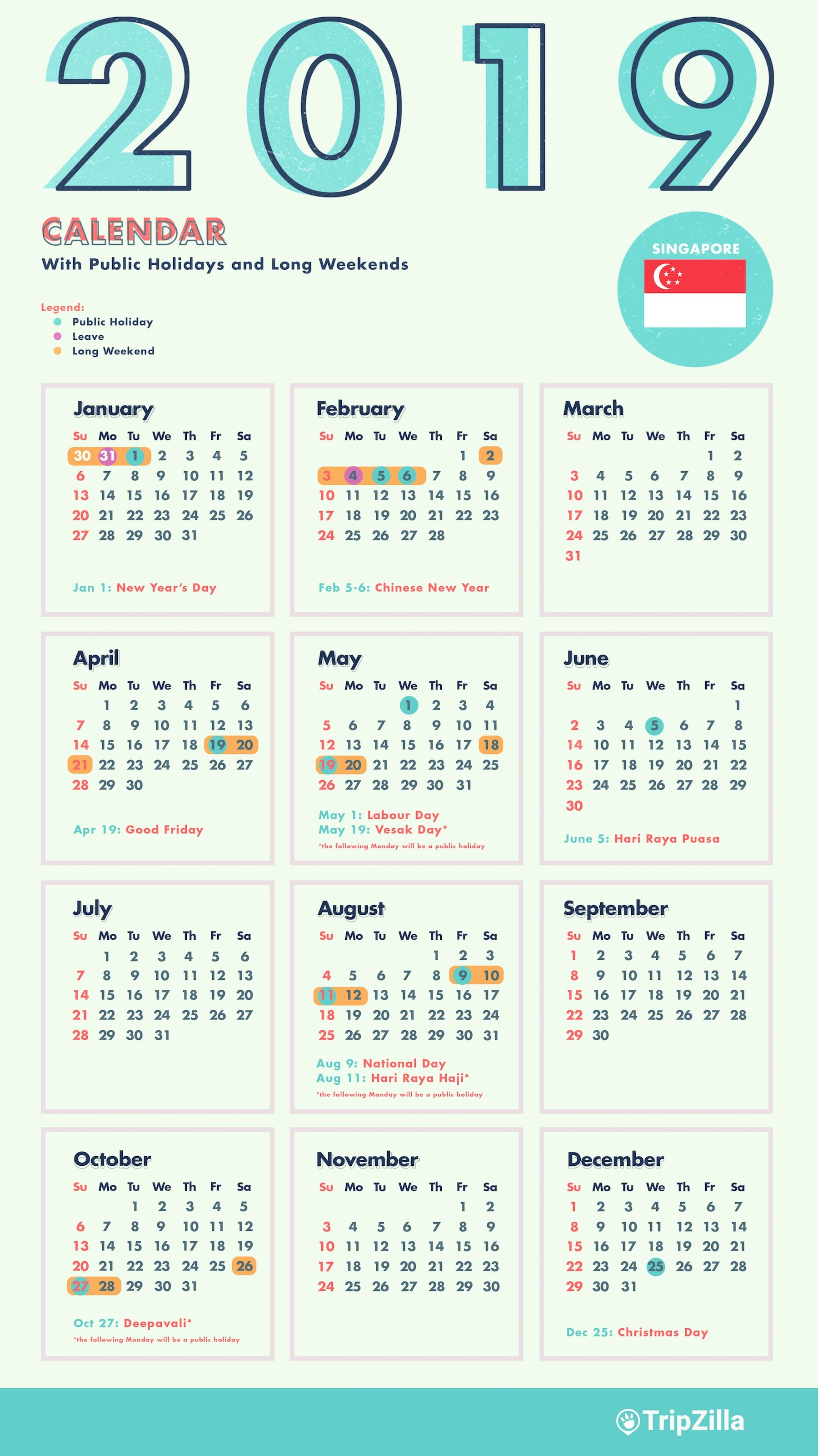 6 Long Weekends In Singapore In 2019 (Bonus Calendar & Cheatsheet) Calendar 2019 With Holidays