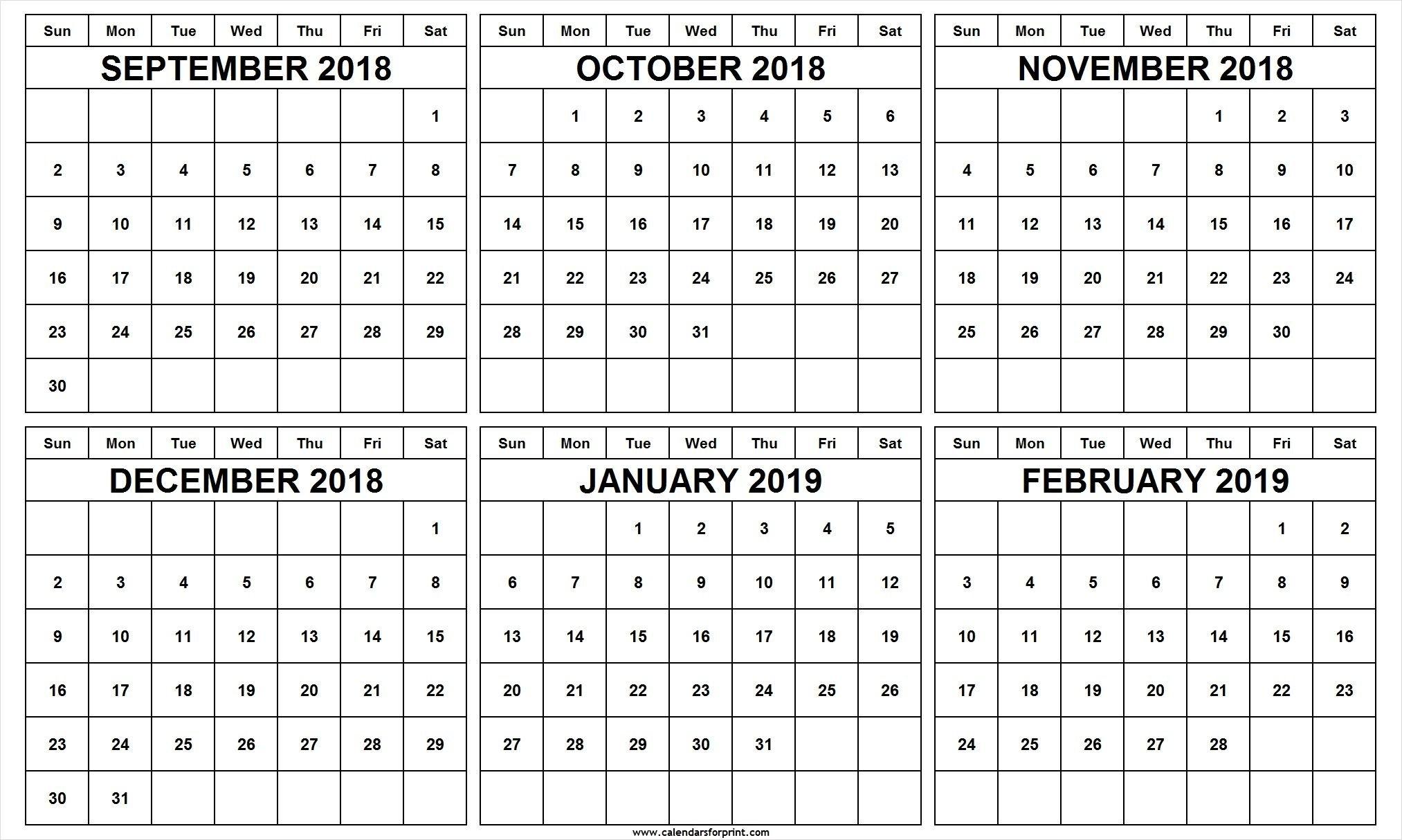 6 Month Calendar September October November December 2018 January Feb 6 2019 Calendar