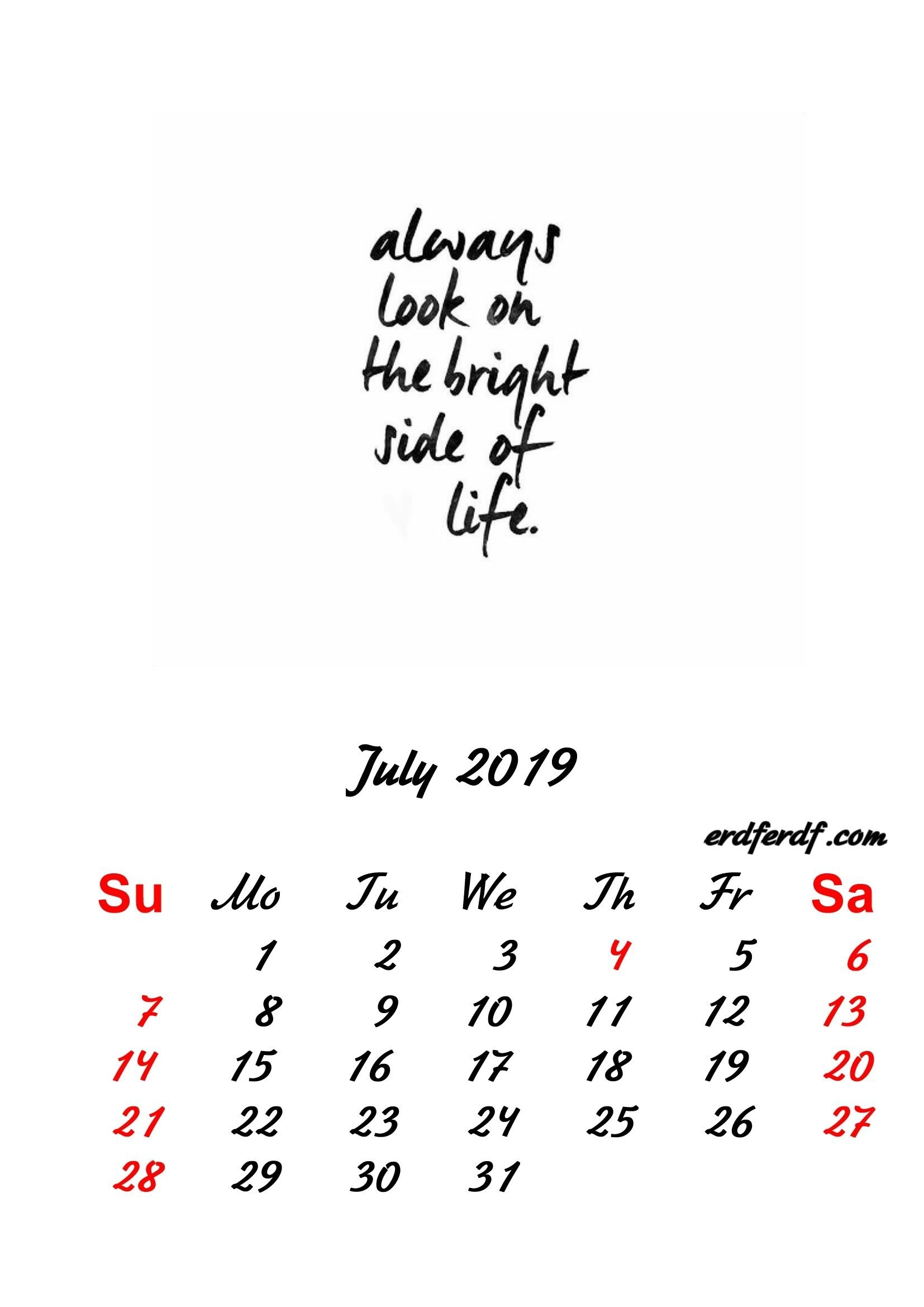 7 July 2019 Inspirational Quotes Pprintable Calendar   Monthly July 7 2019 Calendar