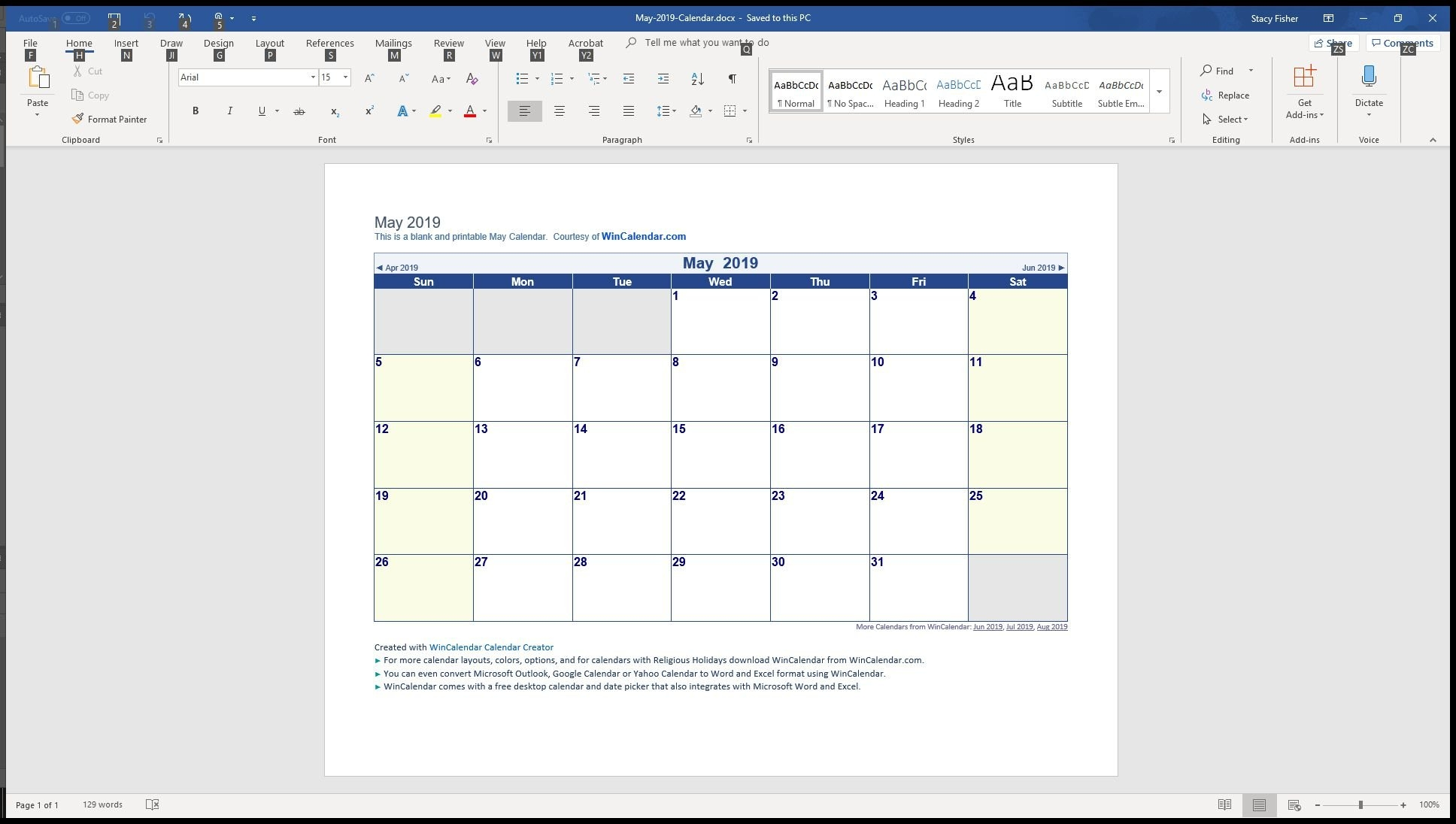 7 Top Place To Find Free Calendar Templates For Word 2019 Calendar 4 5 4