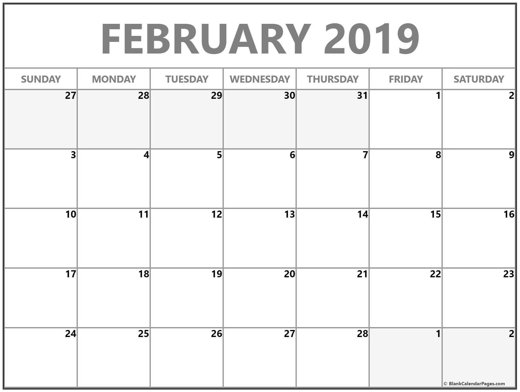 8 Free February 2019 A4 Calendar Download Calendar 2018 Free Calendar Feb 8 2019