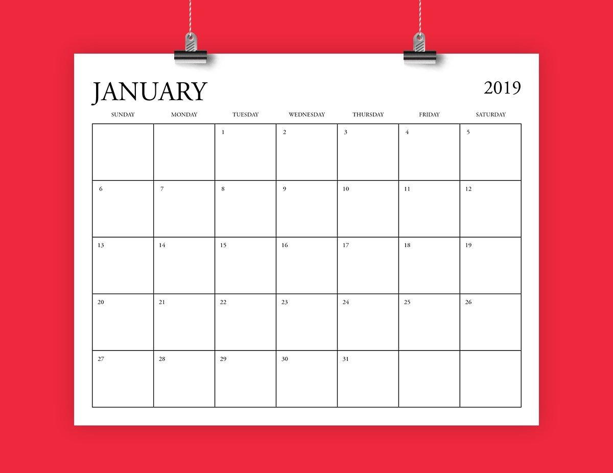 8X10 Inch 2019 Calendar Template Fits 8.5 X 11   Etsy 8 X 10 2019 Calendar