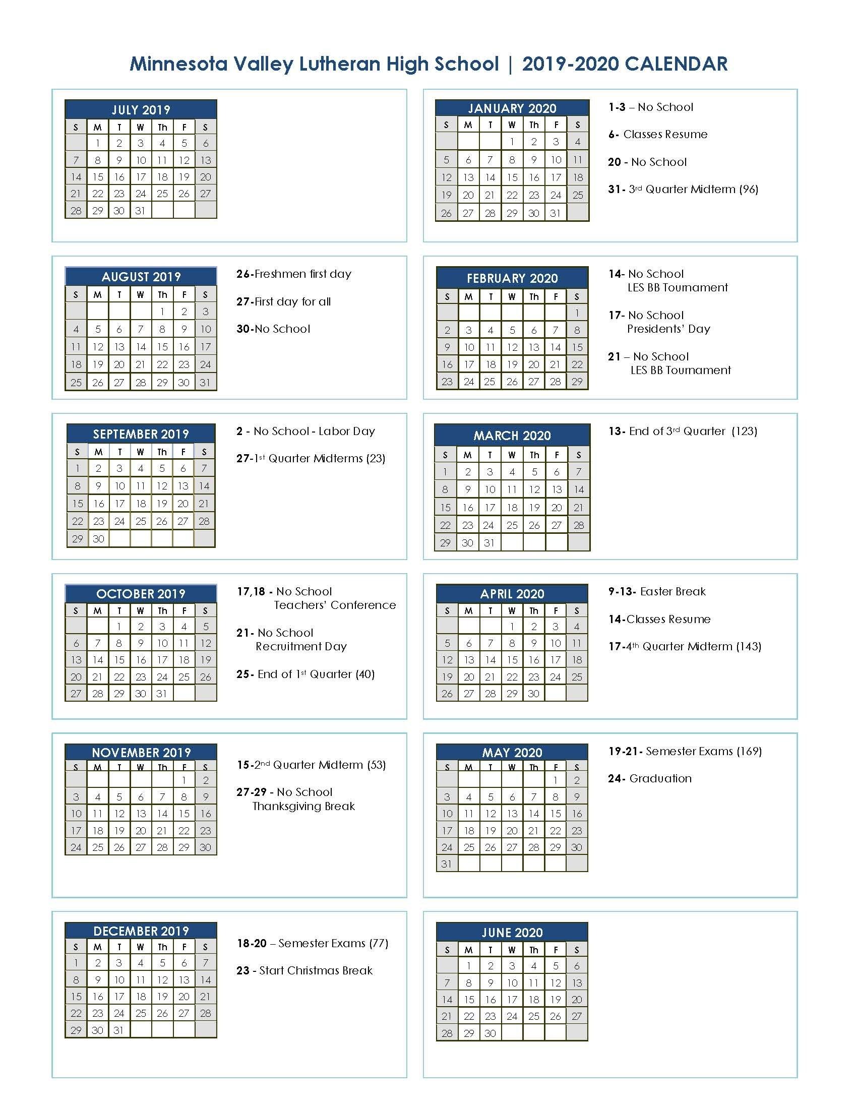 Academic Calendar 2019 2020 | Minnesota Valley Lutheran High School 3 Term Calendar 2019