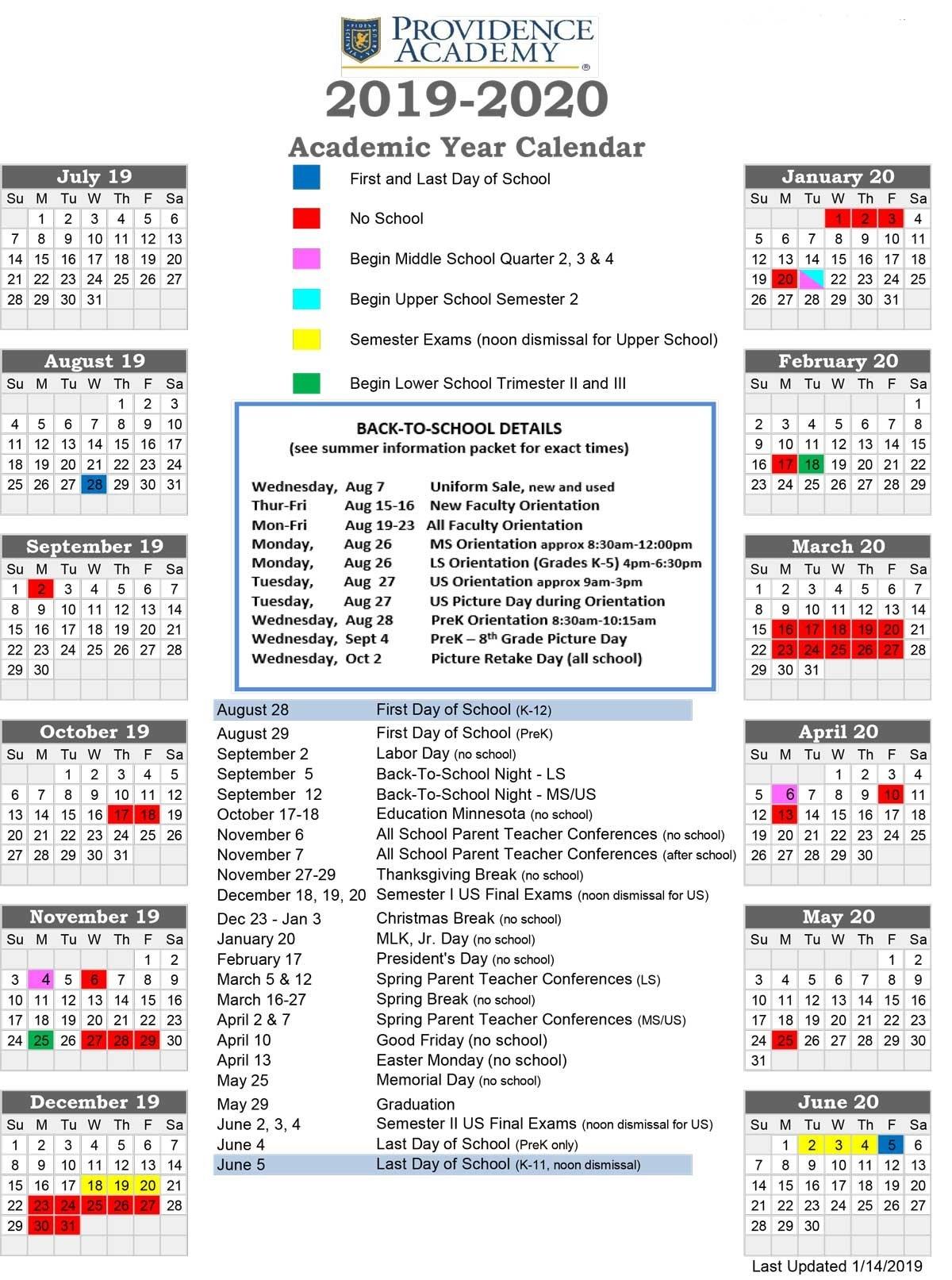 Academic Calendar – Providence Academy U Of Mn Calendar 2019