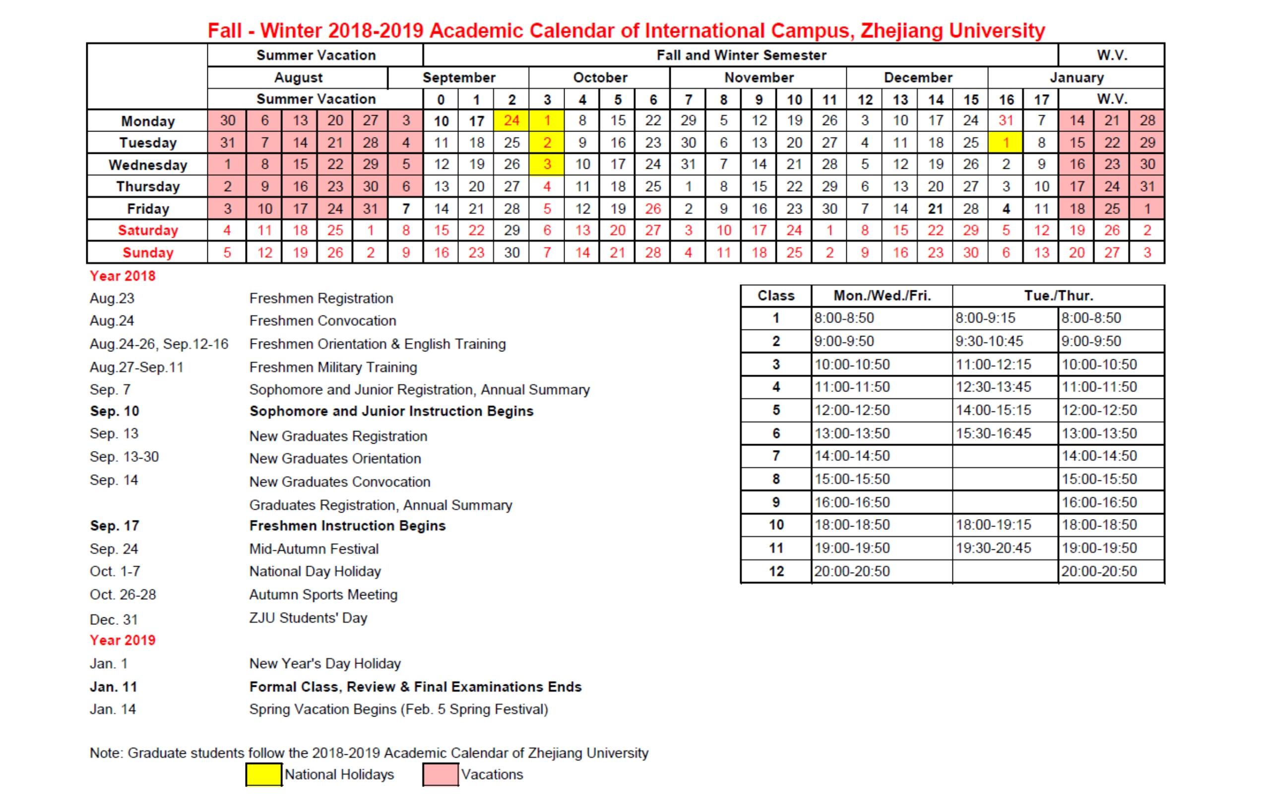 Academic Calendar | Zju Uiuc Institute Calendar 2019 Uiuc