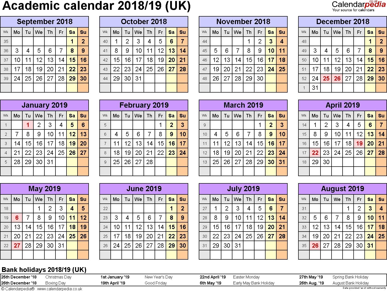Academic Calendars 2018/2019 As Free Printable Word Templates Calendar 2019 19