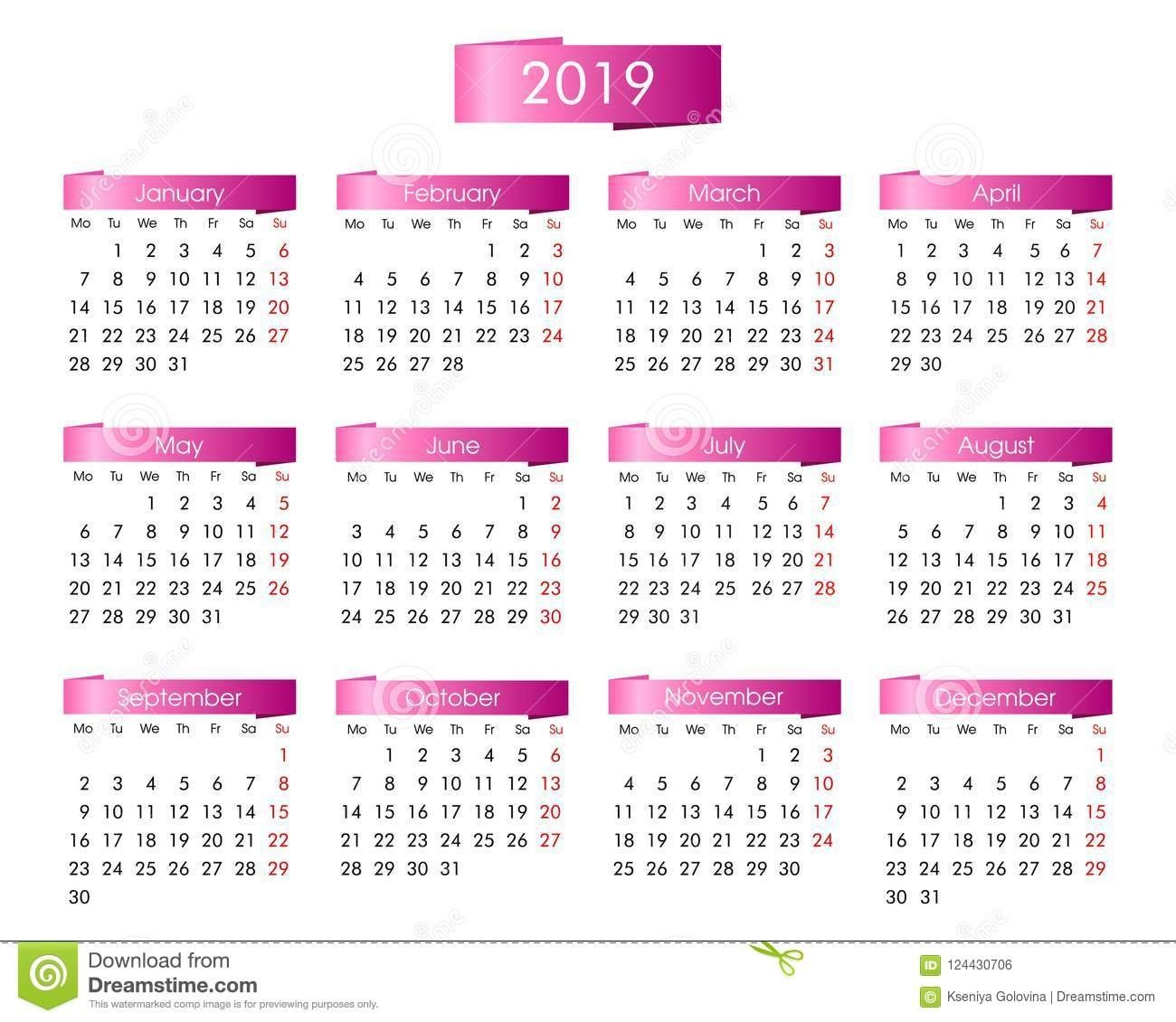 Annual Calendar For 2019 Year With The Pink Stock Vector Calendar 2019 Annual