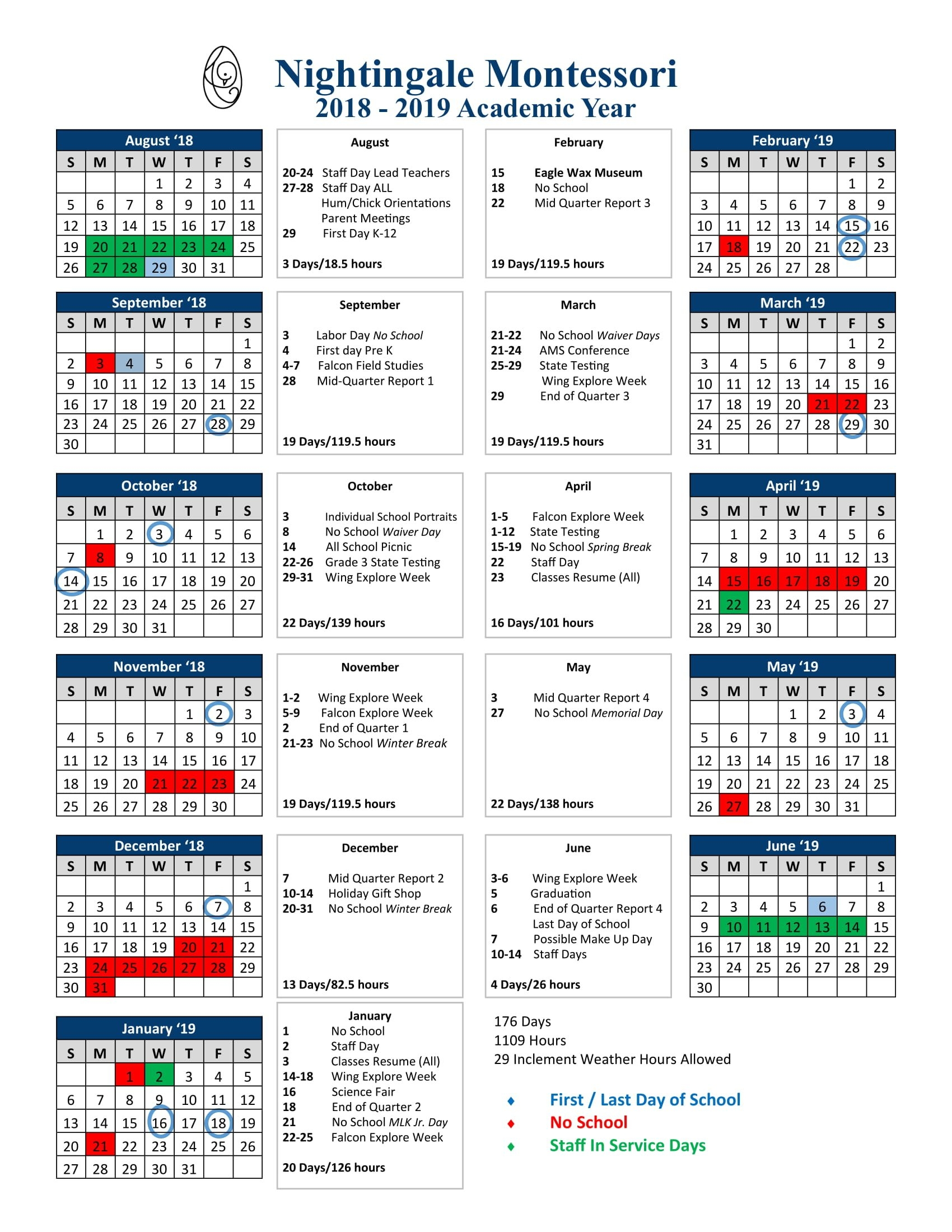 Annual Calendar – Nightingale Montessori K State Calendar Spring 2019
