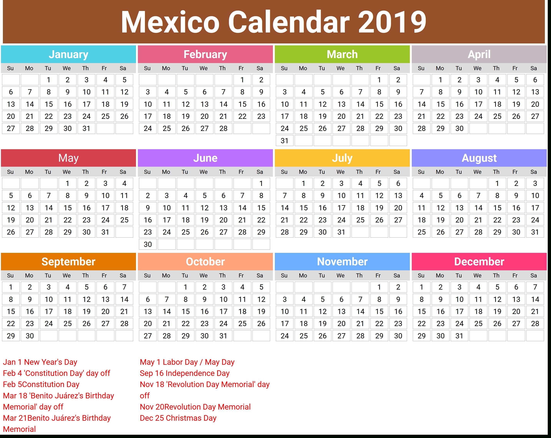 Annual Mexico Calendar 2019 | Printcalendar.xyz Calendar 2019 Mexico