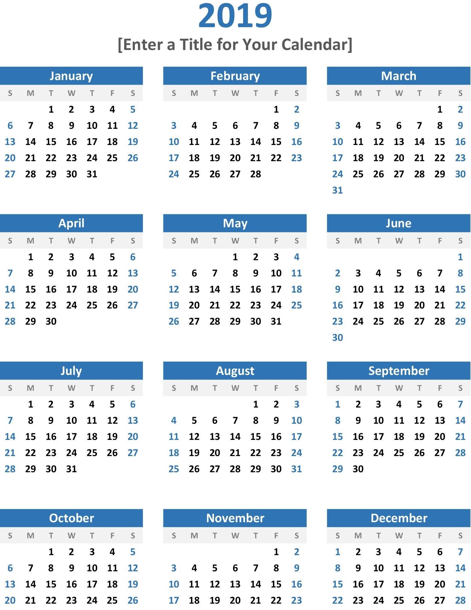 Any Year At A Glance Calendar (Portrait) Calendar 2019 Year At A Glance