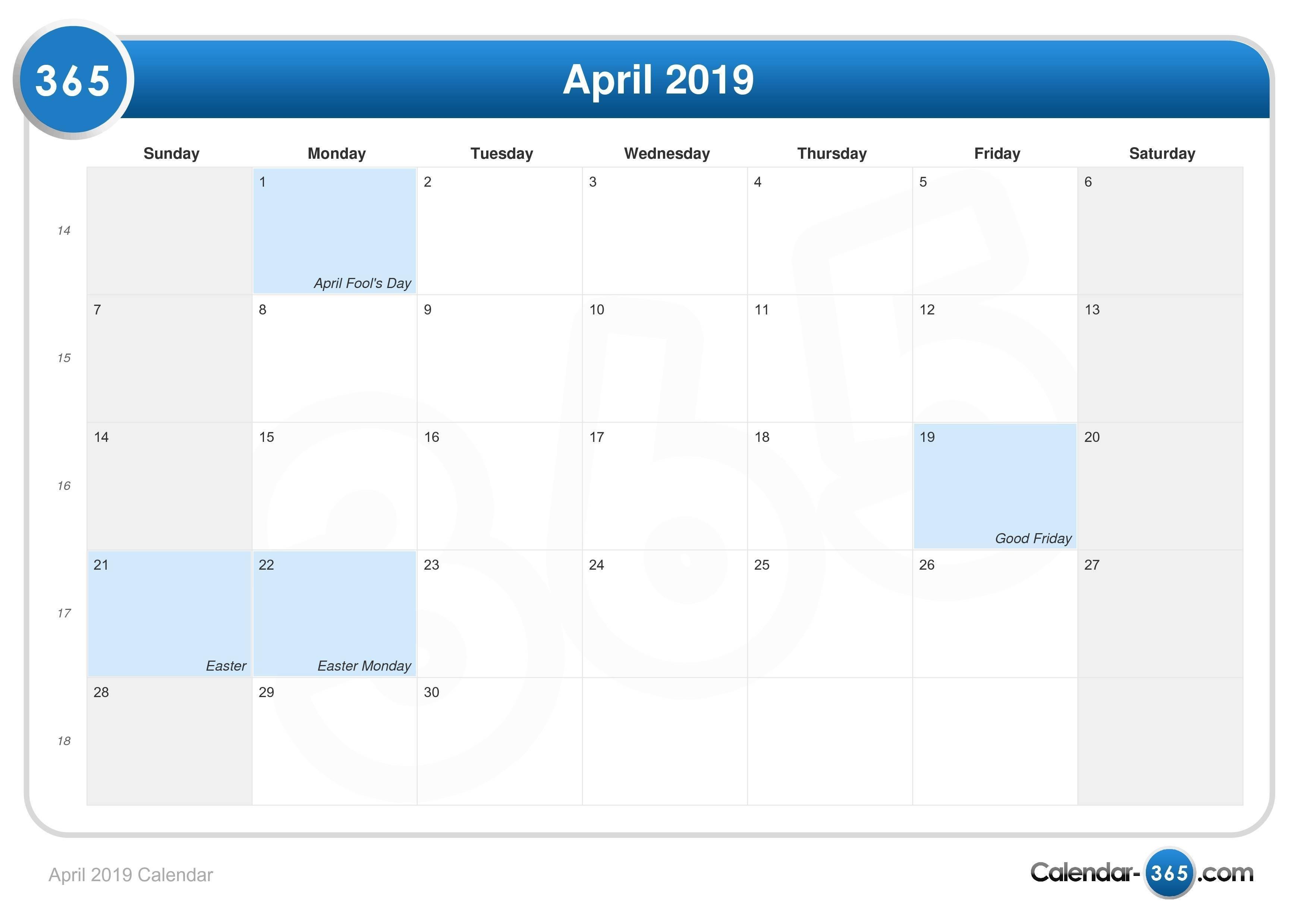 April 2019 Calendar Calendar Week 16 2019