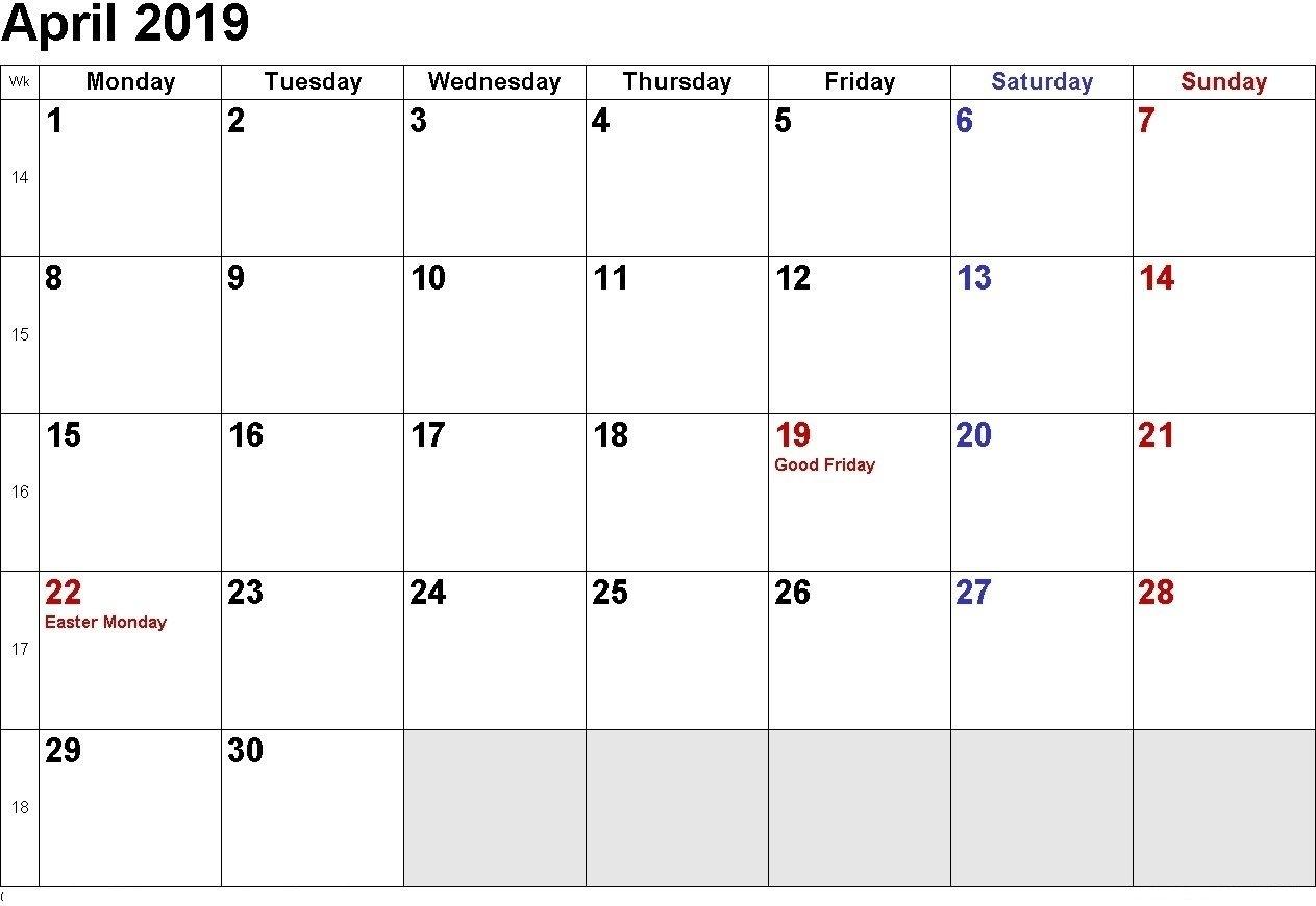 April 2019 Calendar   Download April Calendar, April 2019 Printable Calendar 2019 Download Word