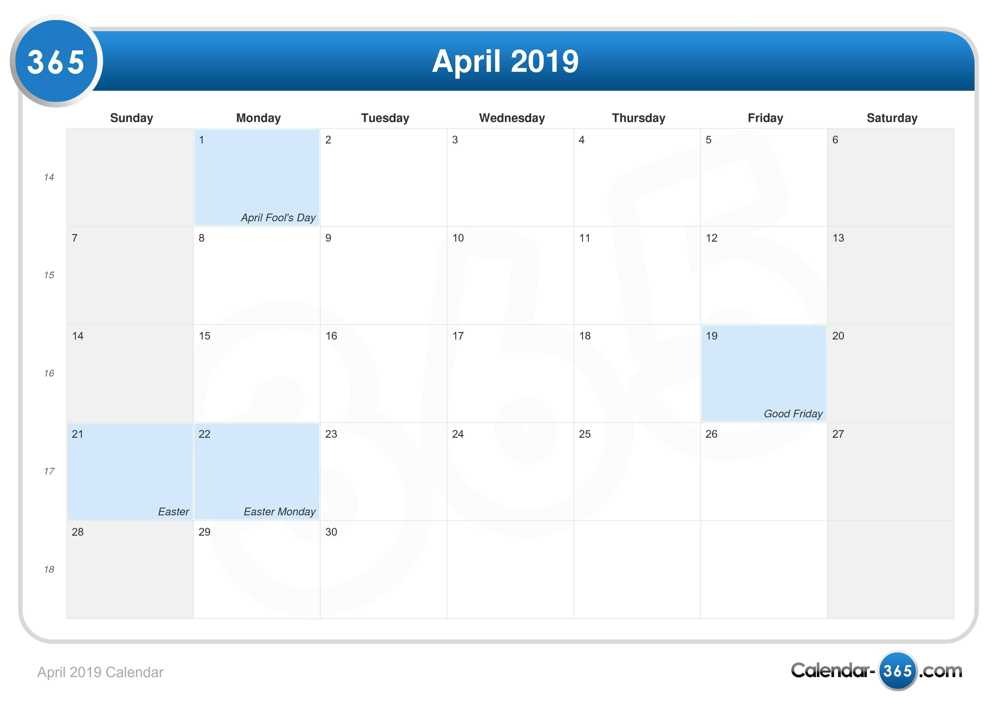 April 2019 Calendar Feb 6 2019 Calendar