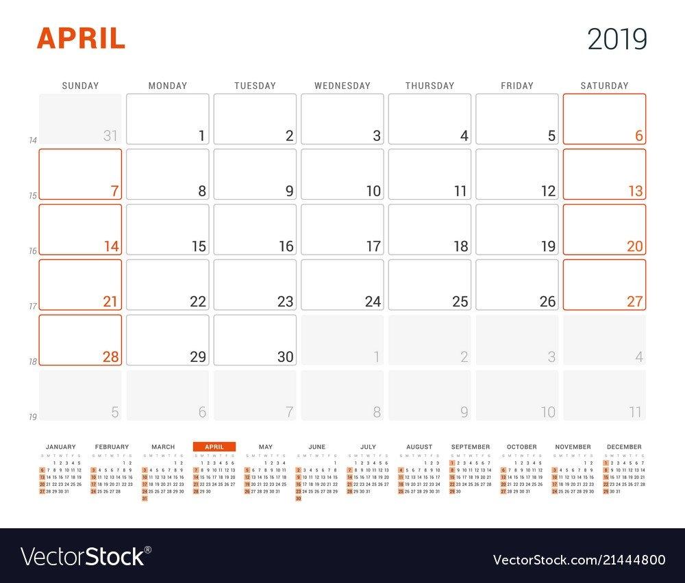 April 2019 Calendar Planner For 2019 Year Design Vector Image April 4 2019 Calendar