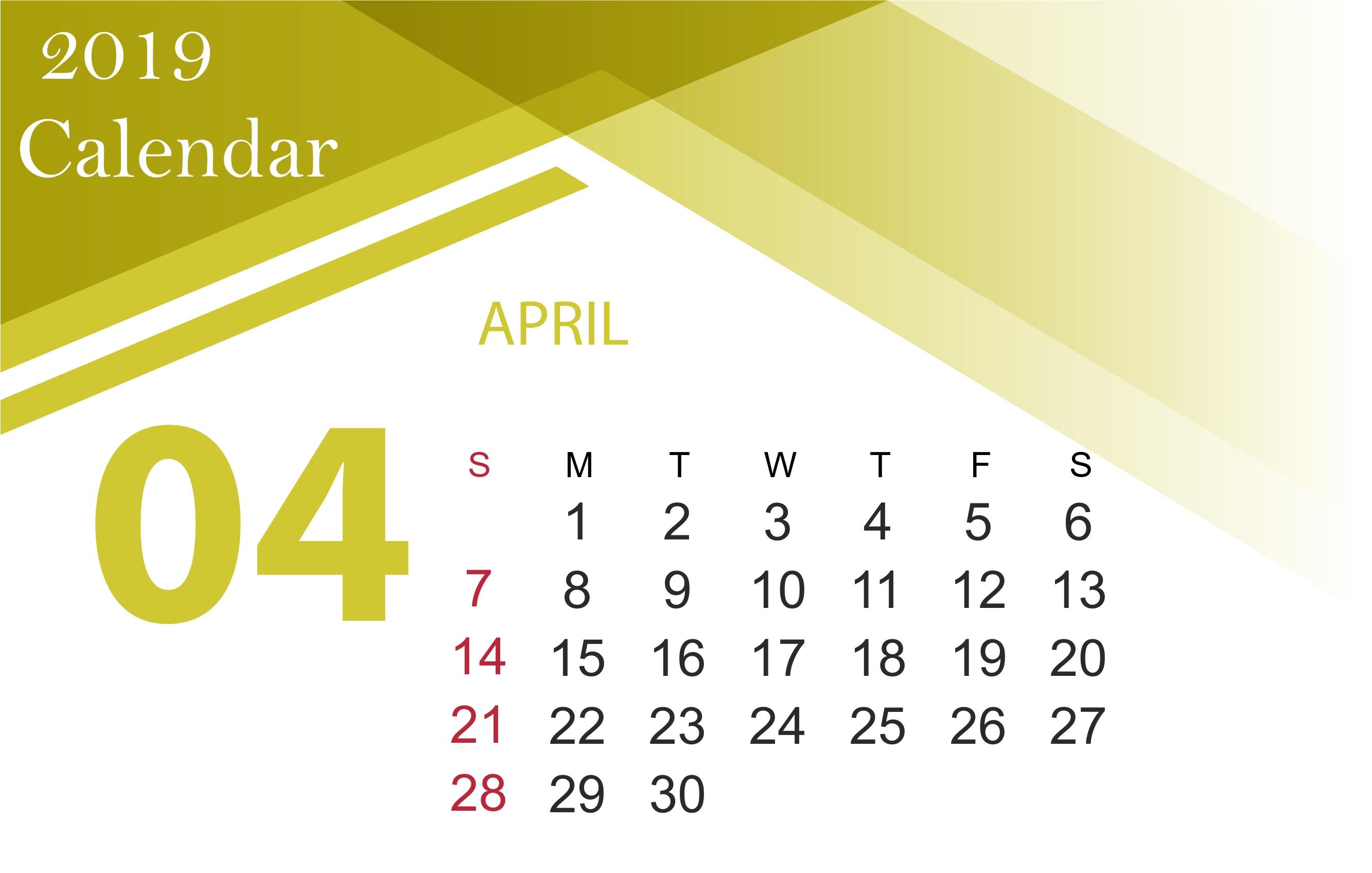April 2019 Calendar Printable [Free]   Site Provides Calendar Calendar April 6 2019
